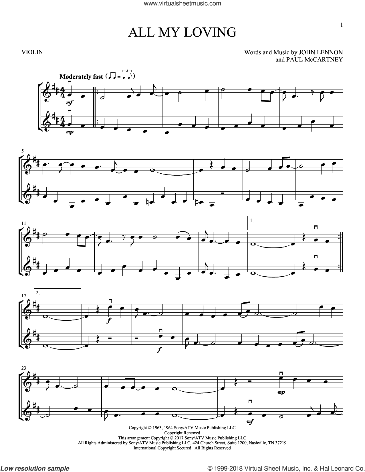 All My Loving sheet music for two violins (duets, violin duets) by The Beatles, John Lennon and Paul McCartney, intermediate skill level