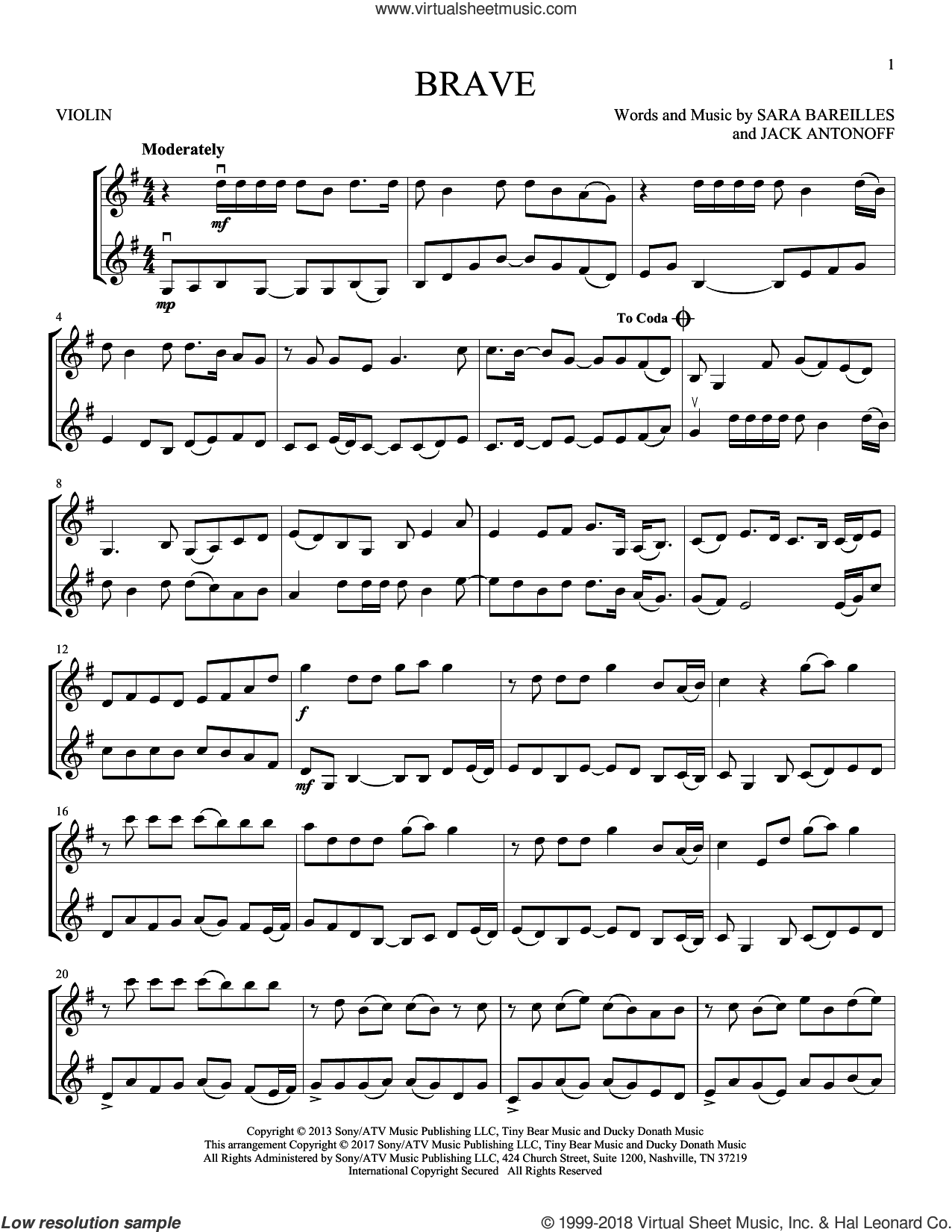 Brave sheet music for two violins (duets, violin duets) by Sara Bareilles and Jack Antonoff, intermediate skill level