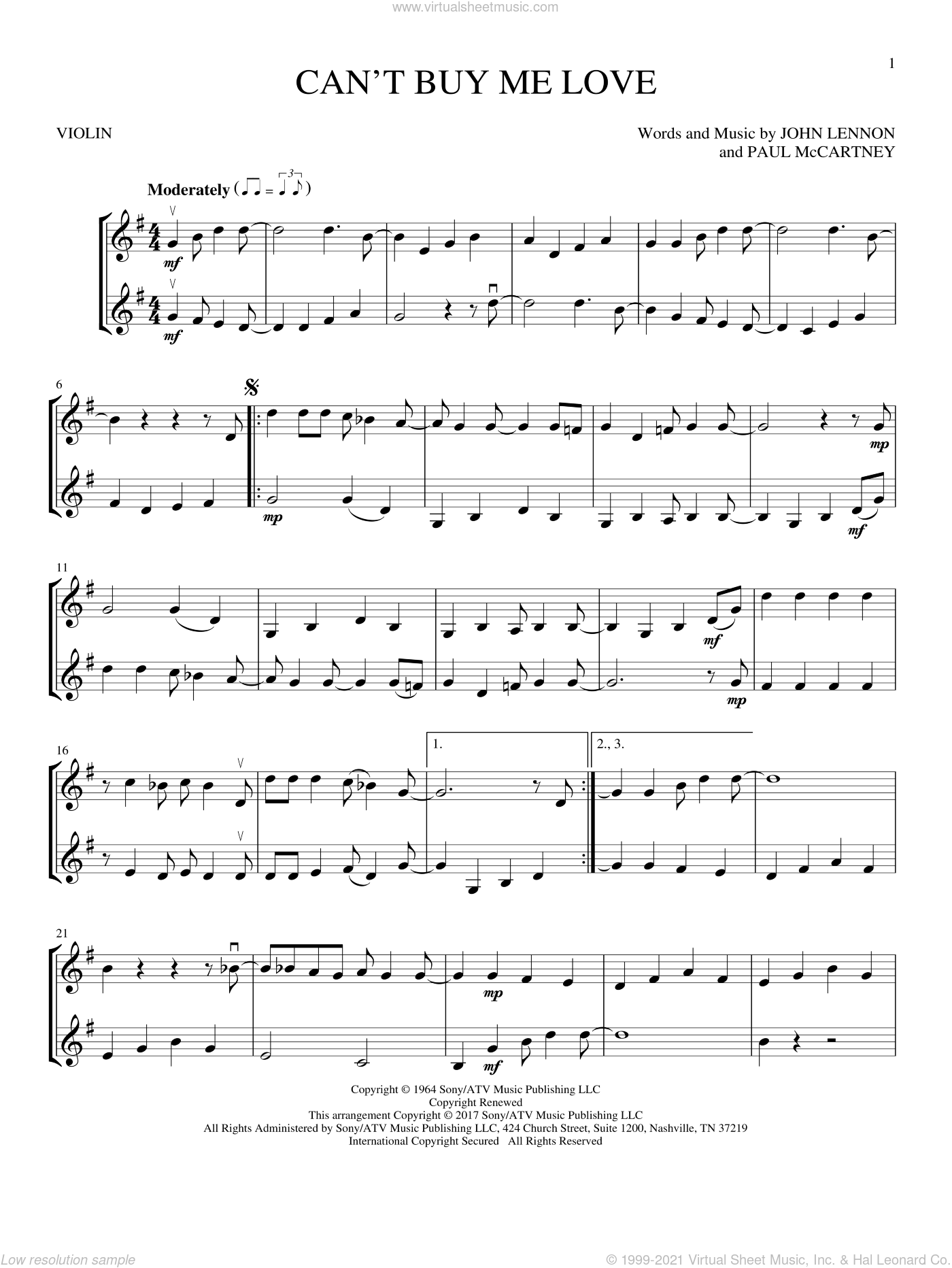 Can't Buy Me Love sheet music for two violins (duets, violin duets) by The Beatles, John Lennon and Paul McCartney, intermediate skill level