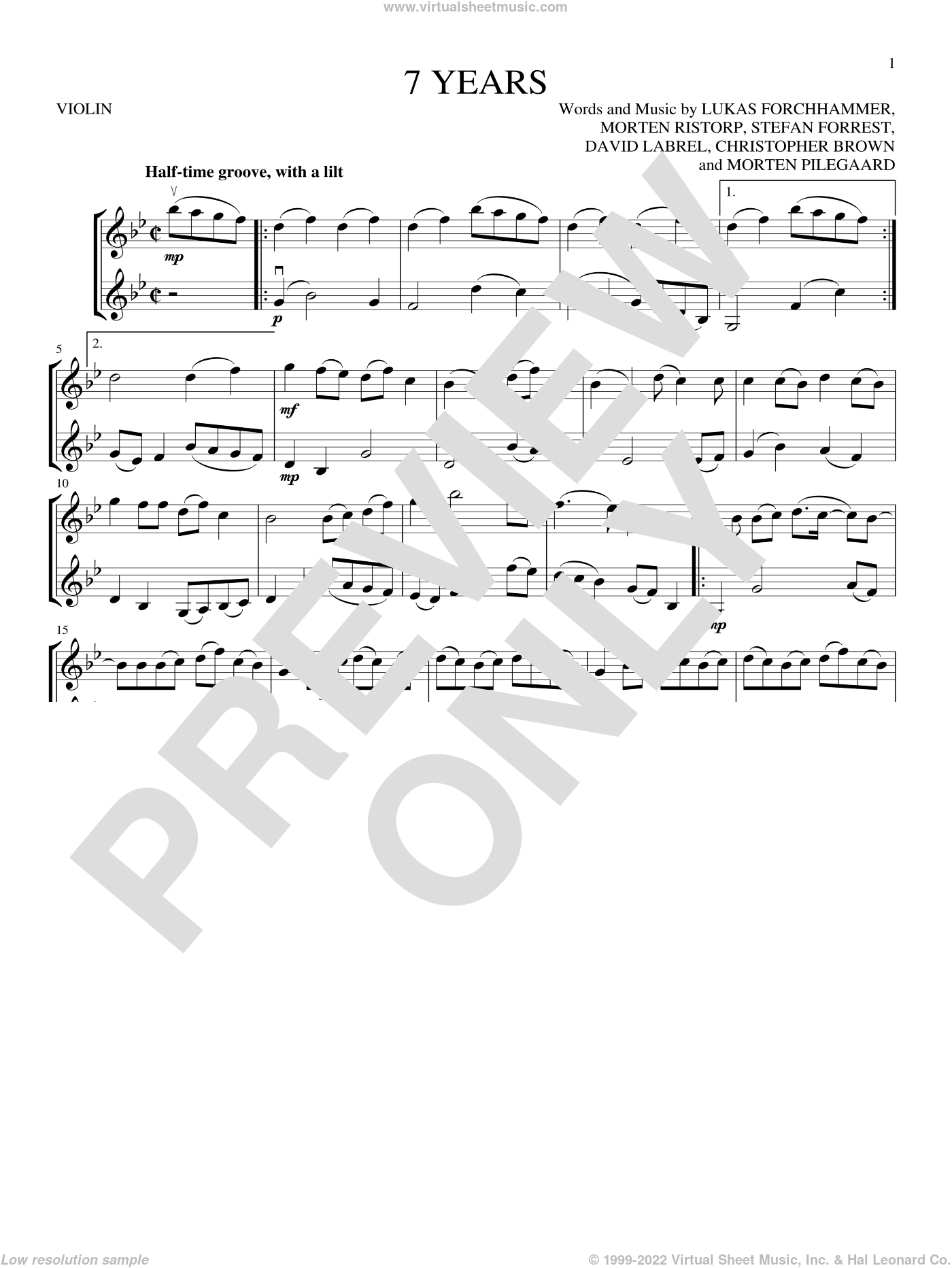 7 Years sheet music for two violins (duets, violin duets) by Lukas Graham, Chris Brown, David Labrel, Lukas Forchhammer, Morten Pilegaard, Morten Ristorp and Stefan Forrest, intermediate skill level