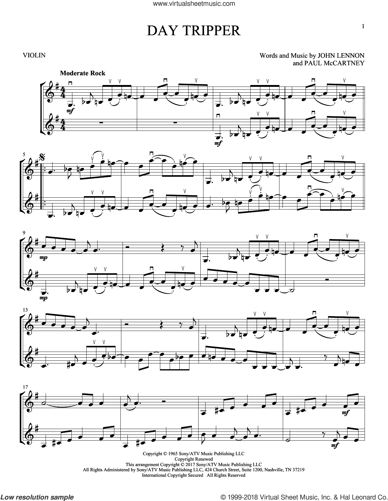 Day Tripper sheet music for two violins (duets, violin duets) by The Beatles, John Lennon and Paul McCartney, intermediate skill level