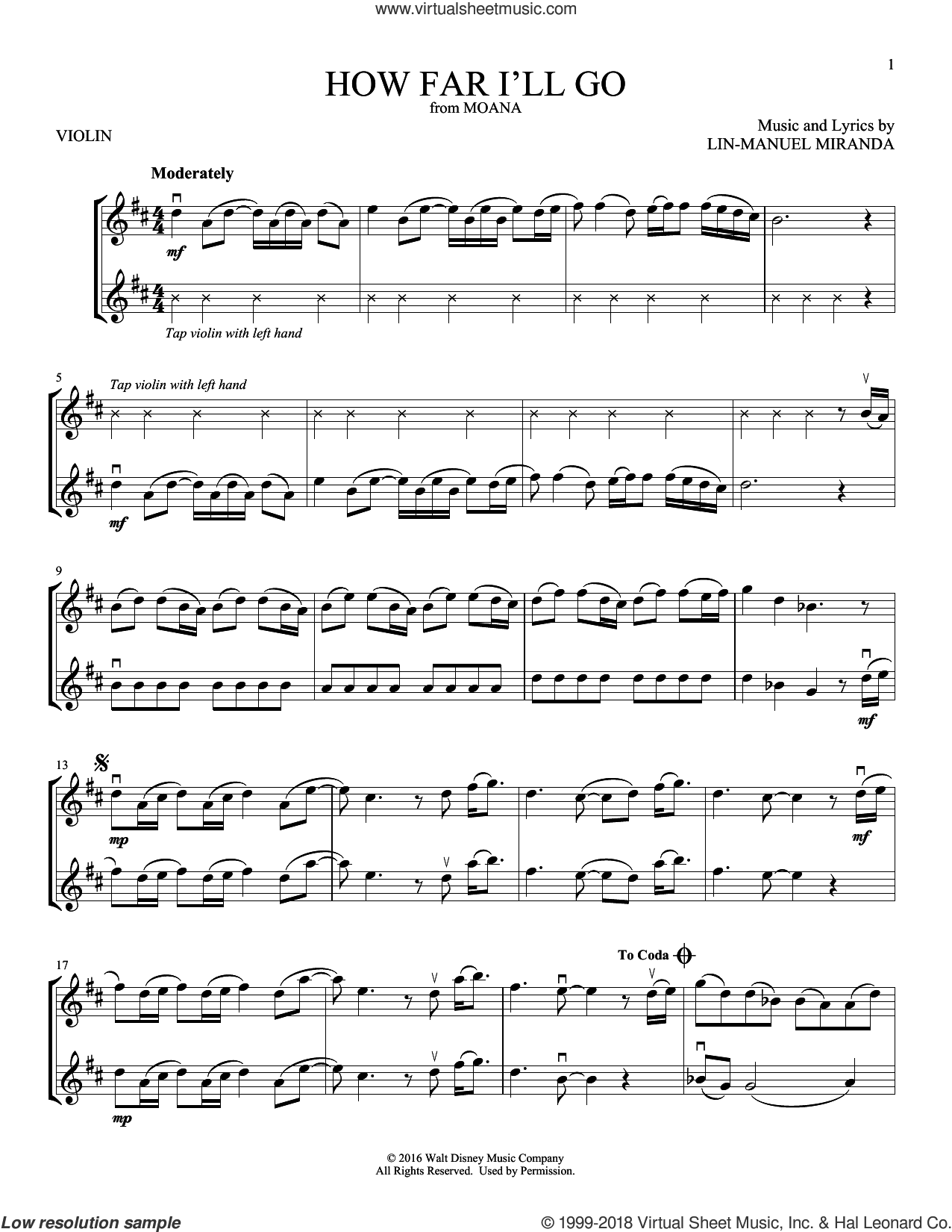 How Far I'll Go (from Moana) sheet music for two violins (duets, violin duets) by Alessia Cara and Lin-Manuel Miranda, intermediate skill level
