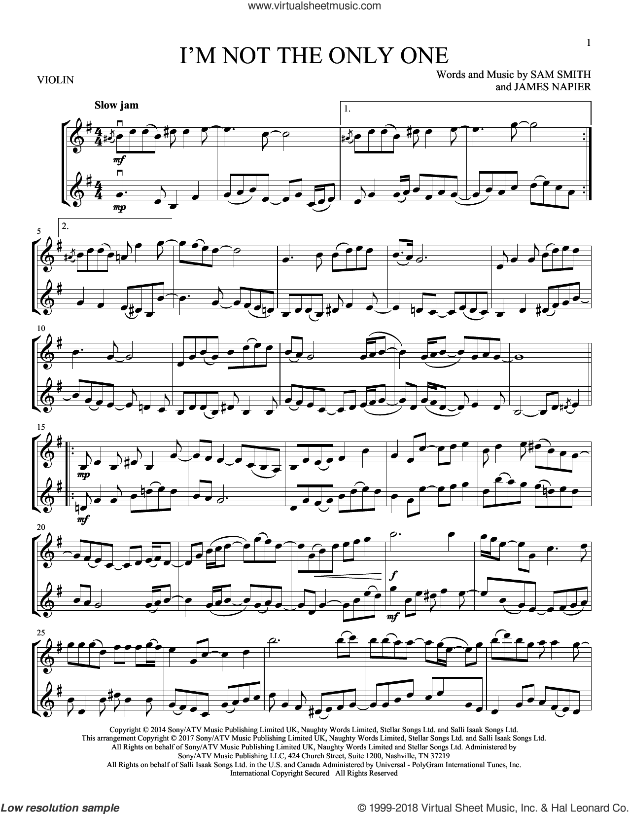 I'm Not The Only One sheet music for two violins (duets, violin duets) by Sam Smith and James Napier, intermediate skill level
