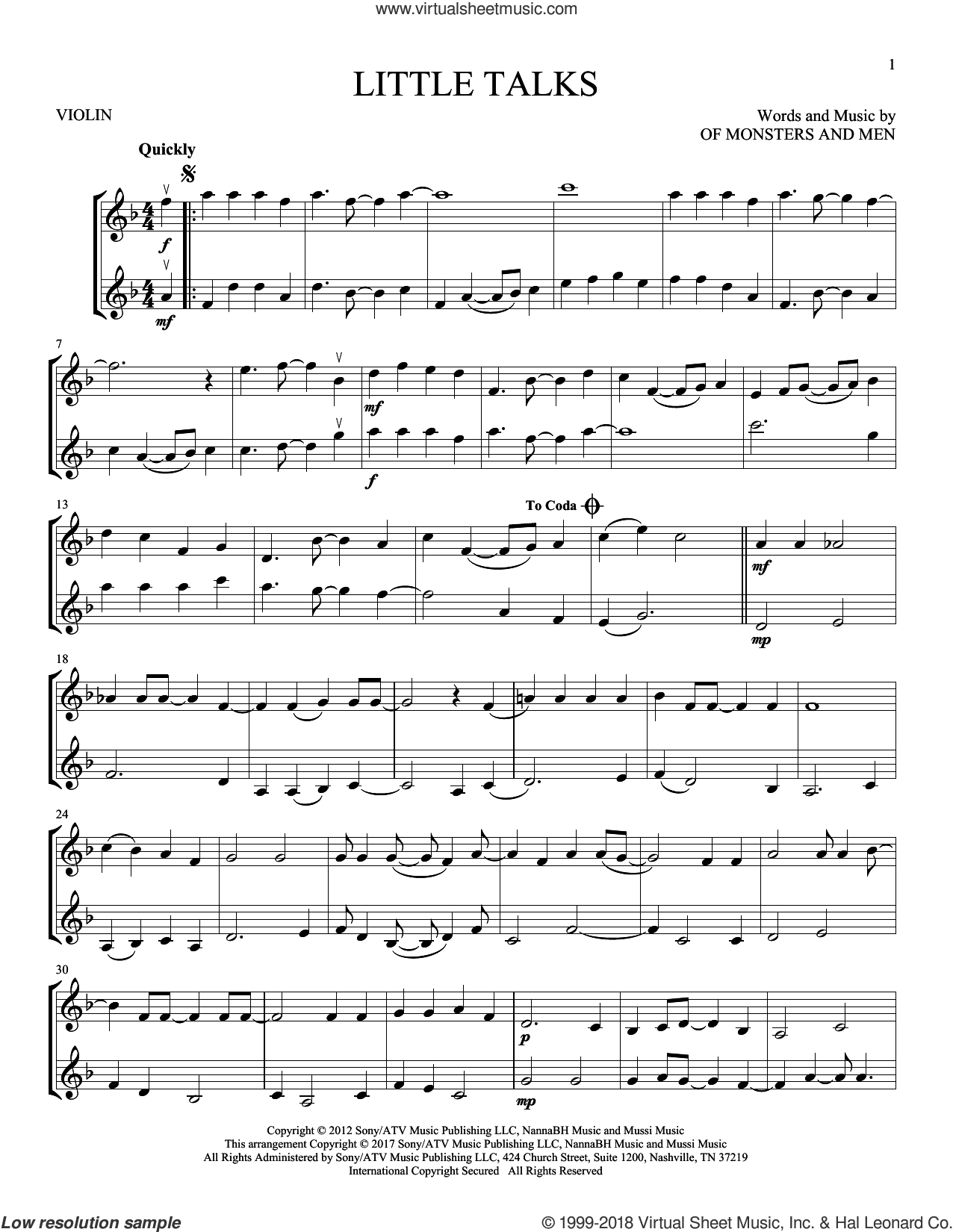 Little Talks sheet music for two violins (duets, violin duets) by Of Monsters And Men, intermediate skill level