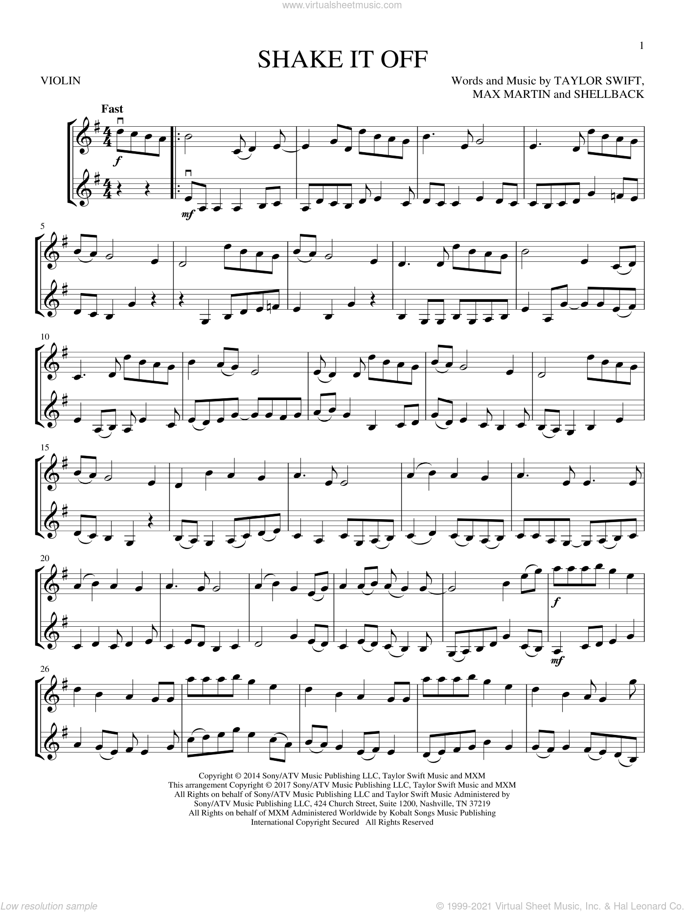 Shake It Off sheet music for two violins (duets, violin duets) by Taylor Swift, Johan Schuster, Max Martin and Shellback, intermediate skill level