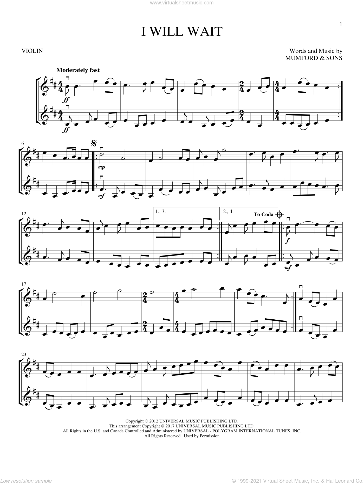 I Will Wait sheet music for two violins (duets, violin duets) by Mumford & Sons, intermediate skill level