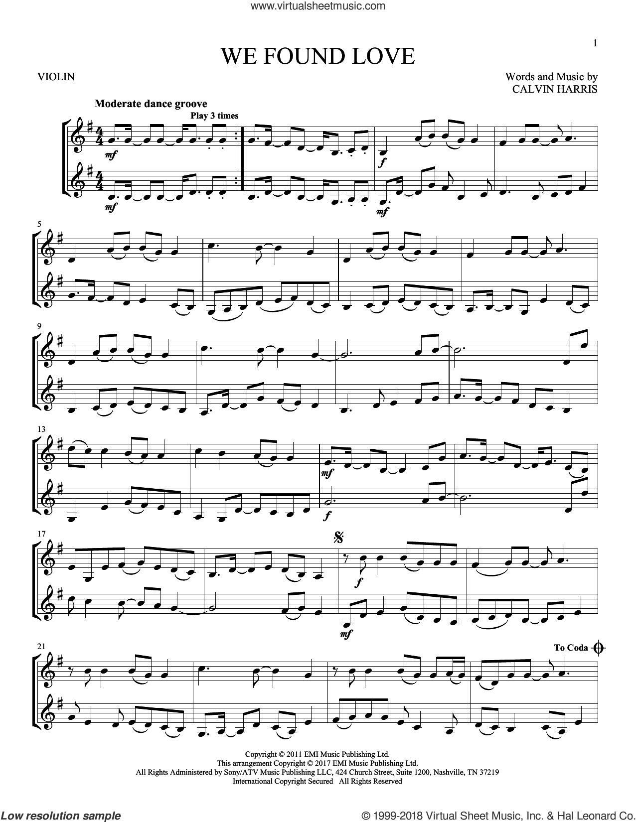 We Found Love sheet music for two violins (duets, violin duets) by Rihanna featuring Calvin Harris and Calvin Harris, wedding score, intermediate skill level