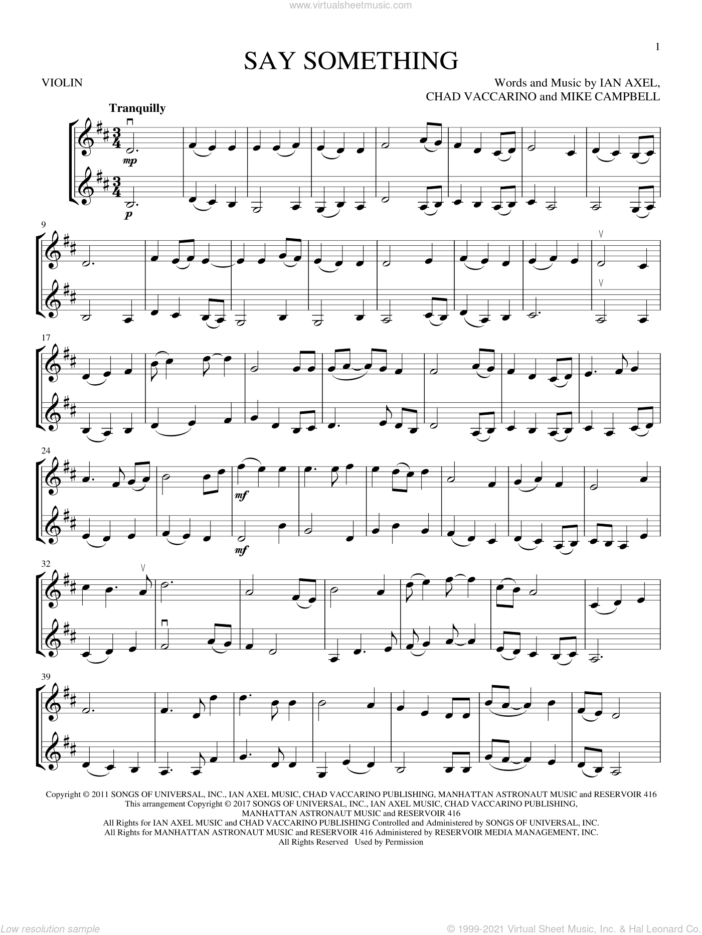Say Something sheet music for two violins (duets, violin duets) by A Great Big World, Chad Vaccarino, Ian Axel and Mike Campbell, intermediate skill level