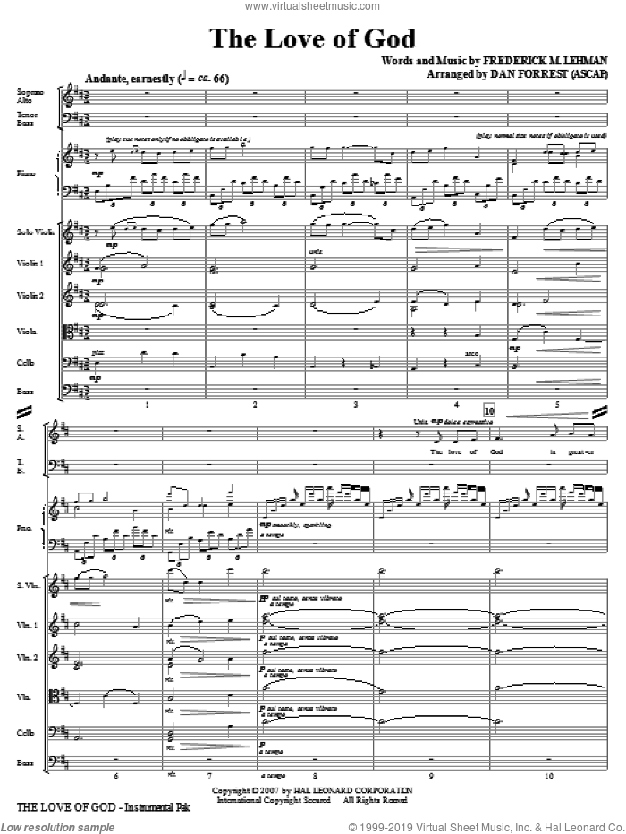 The Love Of God (COMPLETE) sheet music for orchestra/band (Special) by Frederick M. Lehman, Meir Ben Isaac Nehorai and Dan Forrest, intermediate skill level