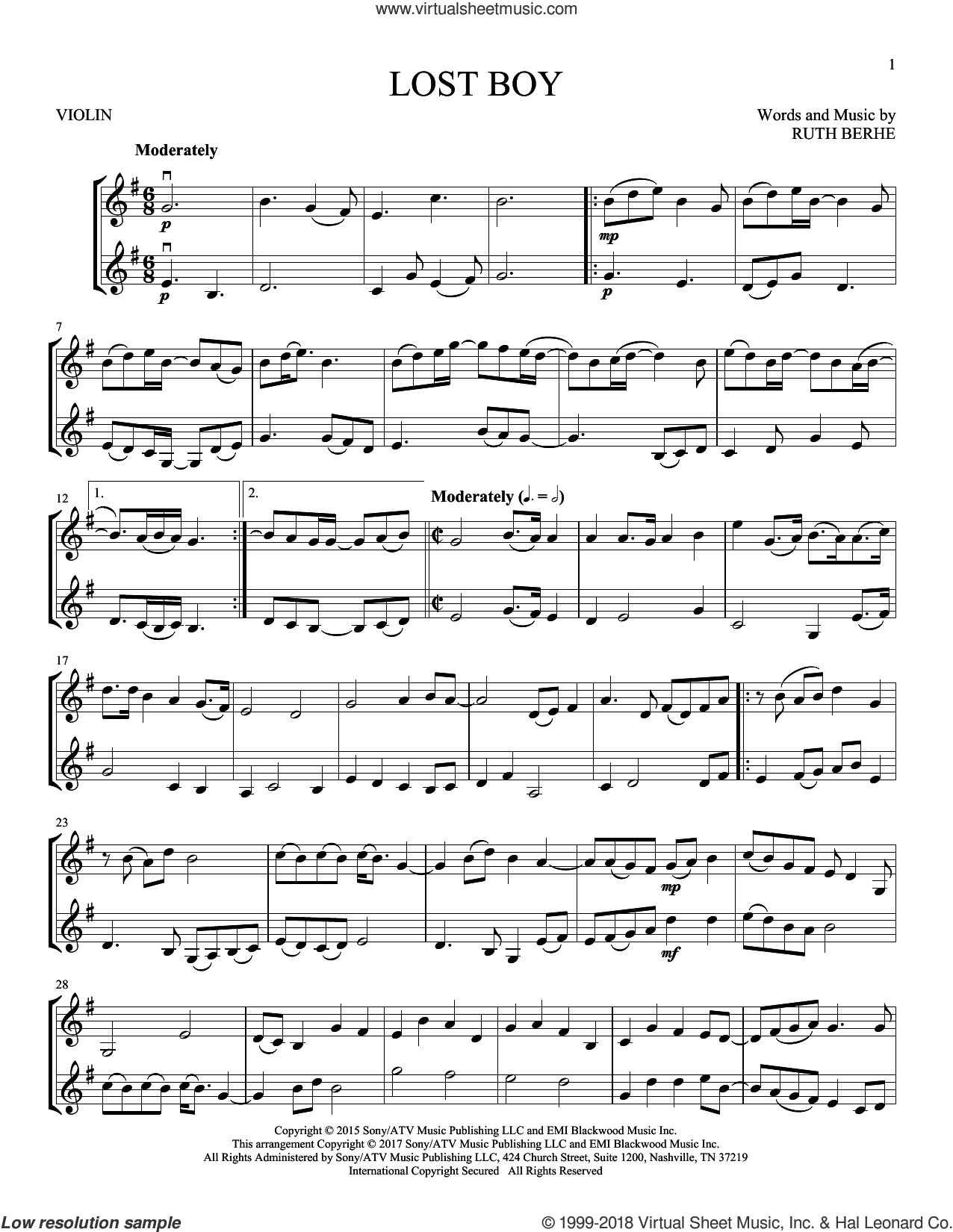 Lost Boy sheet music for two violins (duets, violin duets) by Ruth B and Ruth Berhe, intermediate skill level