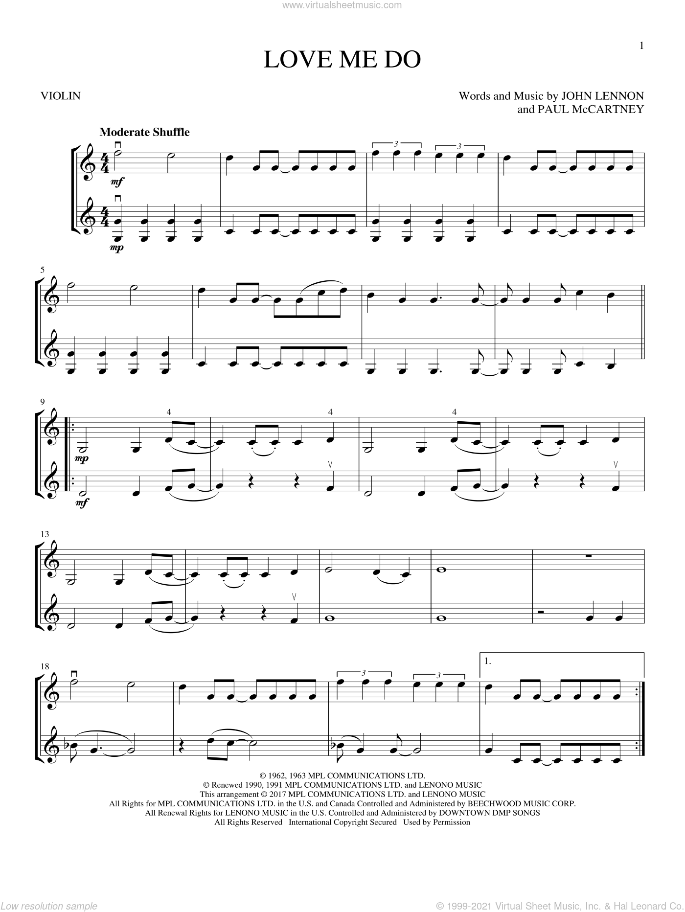 Love Me Do sheet music for two violins (duets, violin duets) by The Beatles, John Lennon and Paul McCartney, intermediate skill level