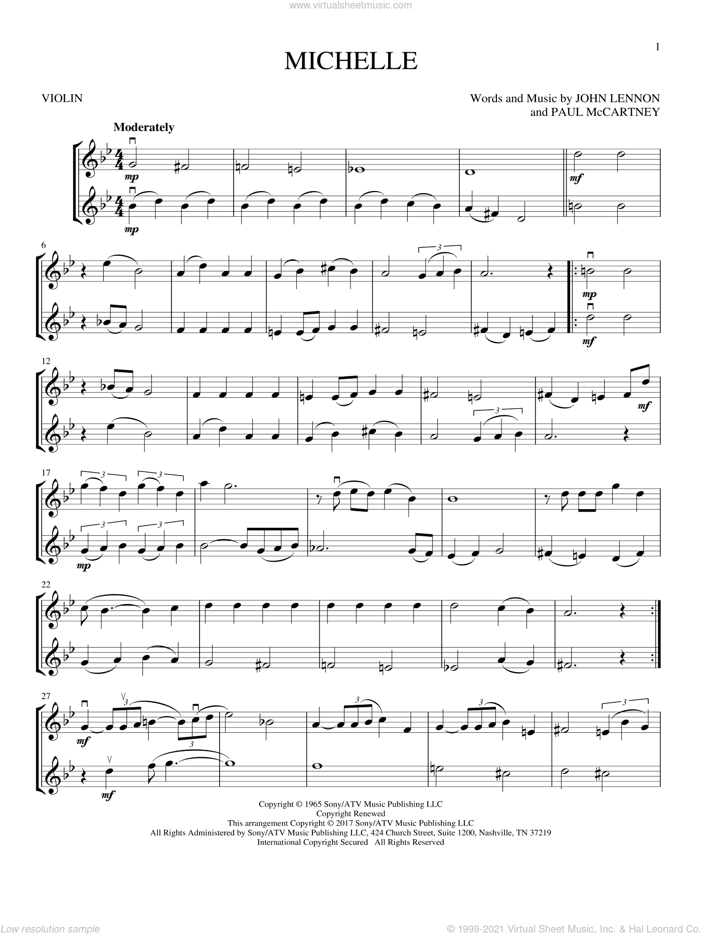 Michelle sheet music for two violins (duets, violin duets) by The Beatles, John Lennon and Paul McCartney, intermediate skill level