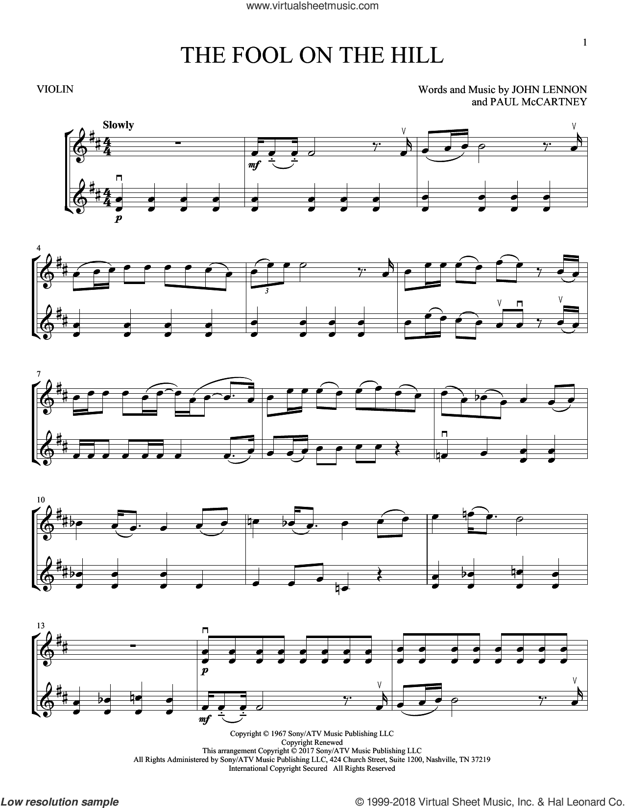 The Fool On The Hill sheet music for two violins (duets, violin duets) by The Beatles, John Lennon and Paul McCartney, intermediate skill level