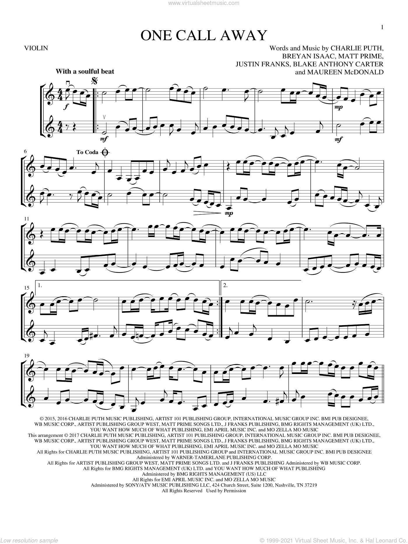 One Call Away sheet music for two violins (duets, violin duets) by Charlie Puth, Blake Anthony Carter, Breyan Isaac, Justin Franks, Matt Prime and Maureen McDonald, wedding score, intermediate skill level