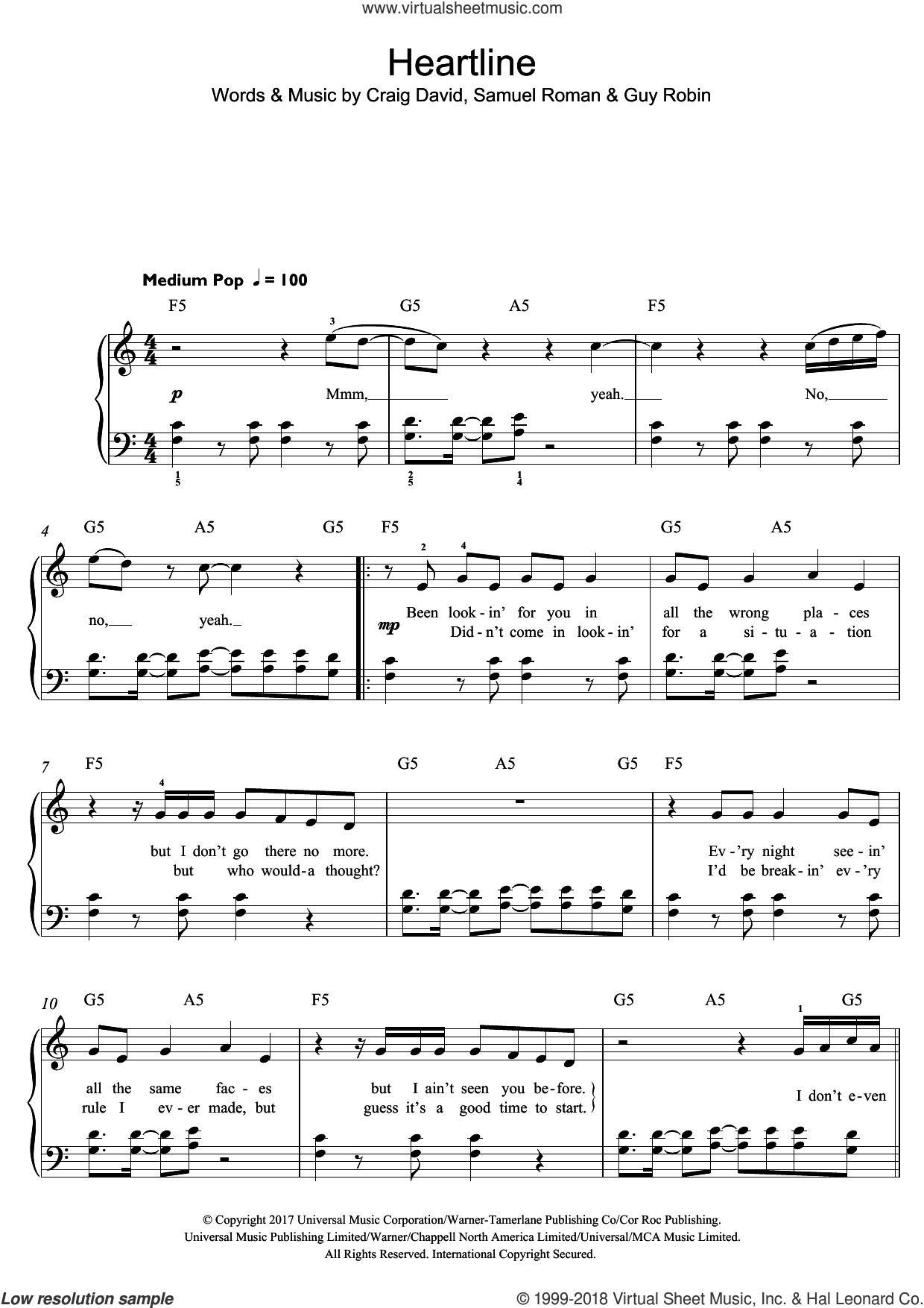 Heartline sheet music for piano solo (beginners) by Craig David, Guy Robin and Samuel Roman, beginner piano (beginners)
