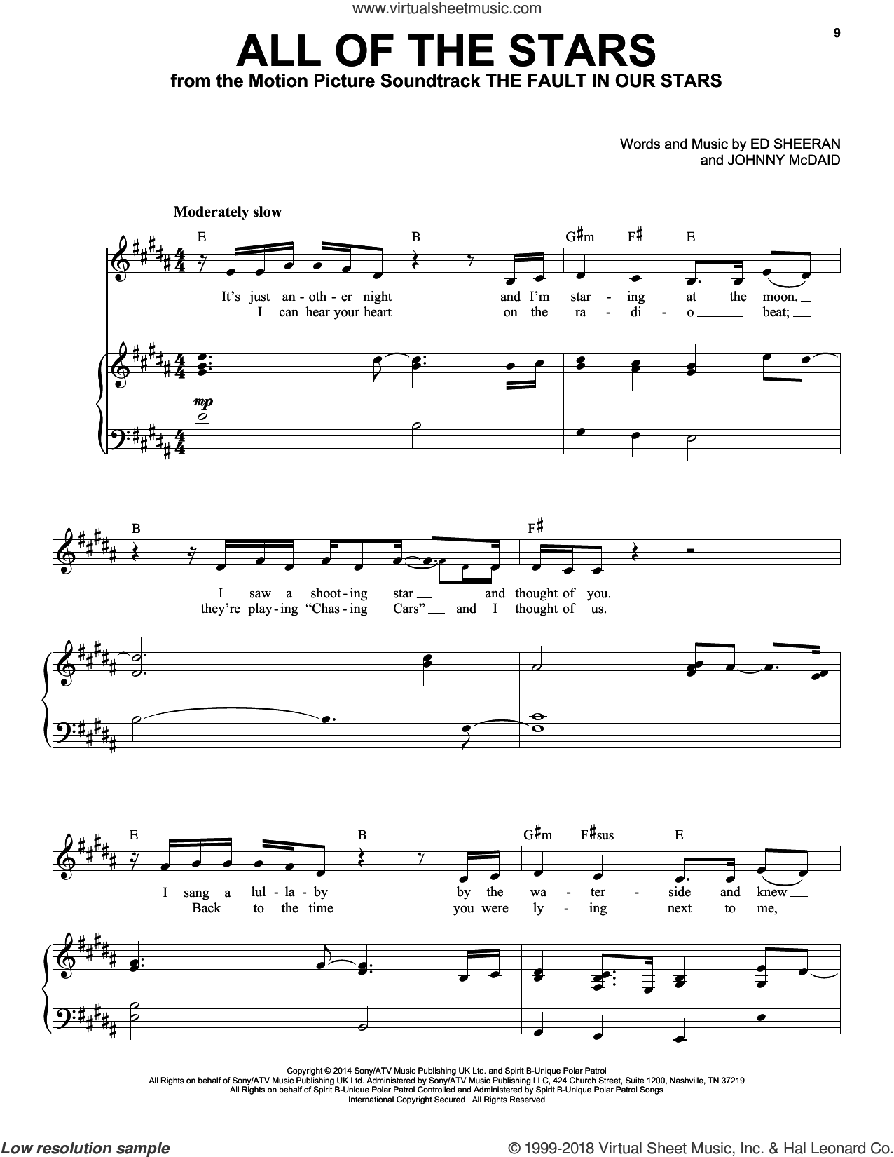 All Of The Stars sheet music for voice and piano by Ed Sheeran, Taylor Swift and Johnny McDaid, intermediate skill level