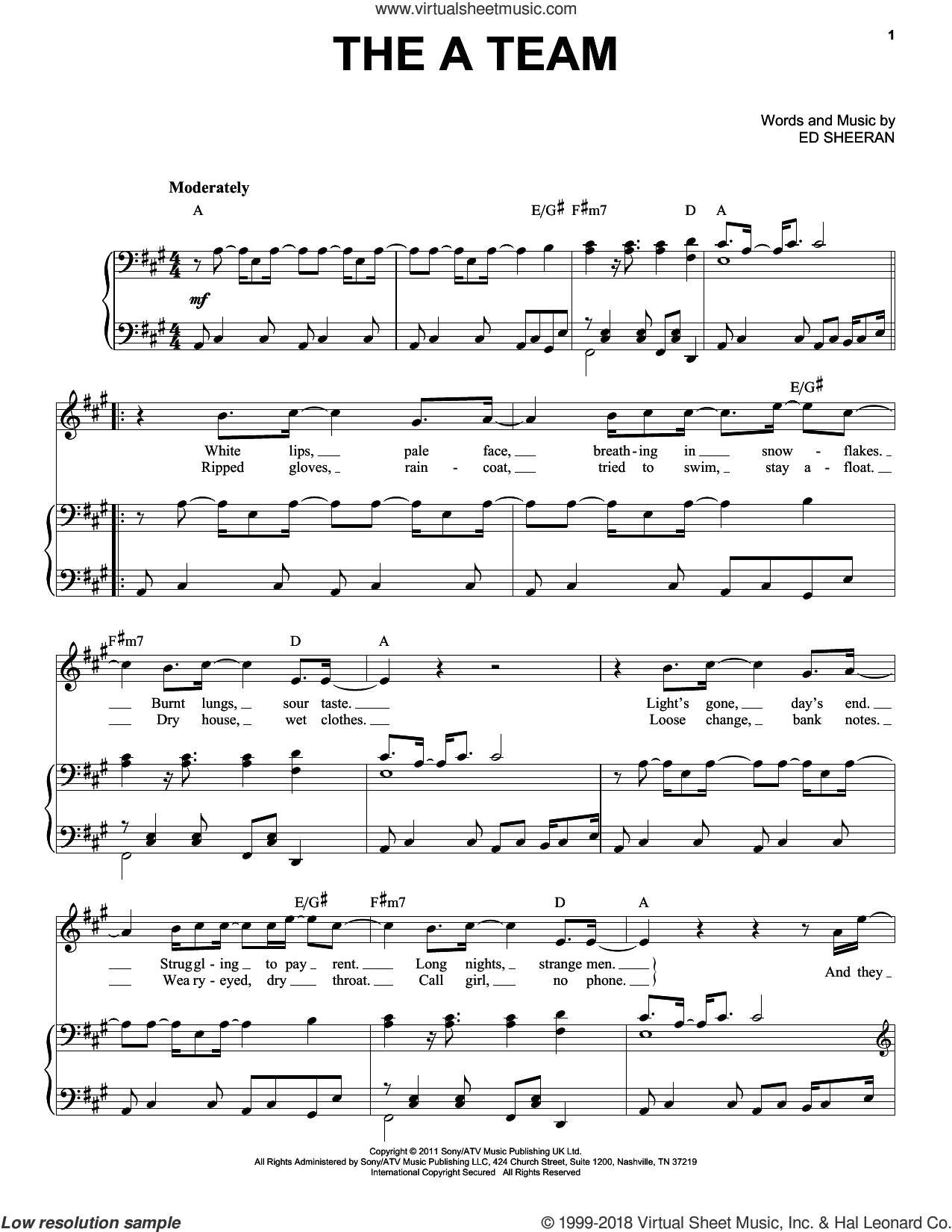 The A Team sheet music for voice and piano by Ed Sheeran and Taylor Swift, intermediate skill level