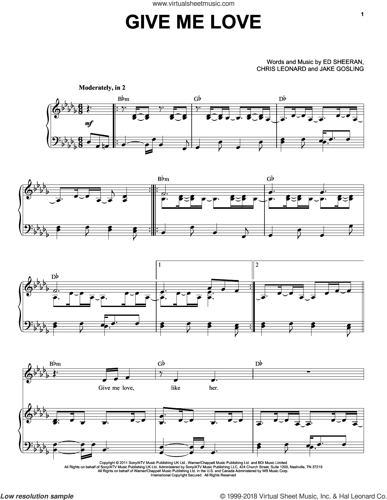 Give Me Love sheet music for voice and piano by Ed Sheeran, Taylor Swift, Chris Leonard and Jake Gosling, intermediate skill level