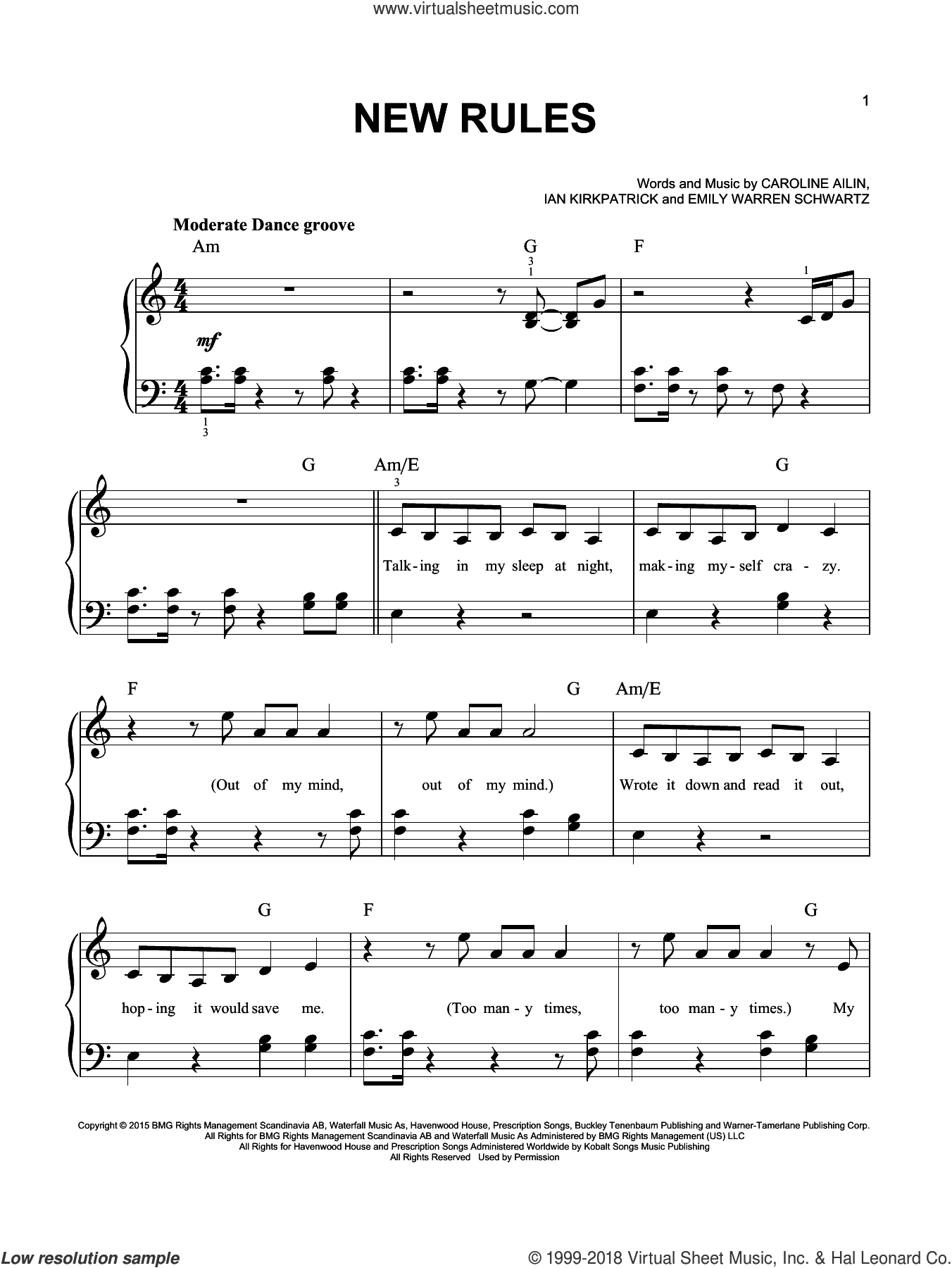 New Rules sheet music for piano solo by Dua Lipa, Caroline Ailin, Emily Warren Schwartz and Ian Kirkpatrick, easy skill level