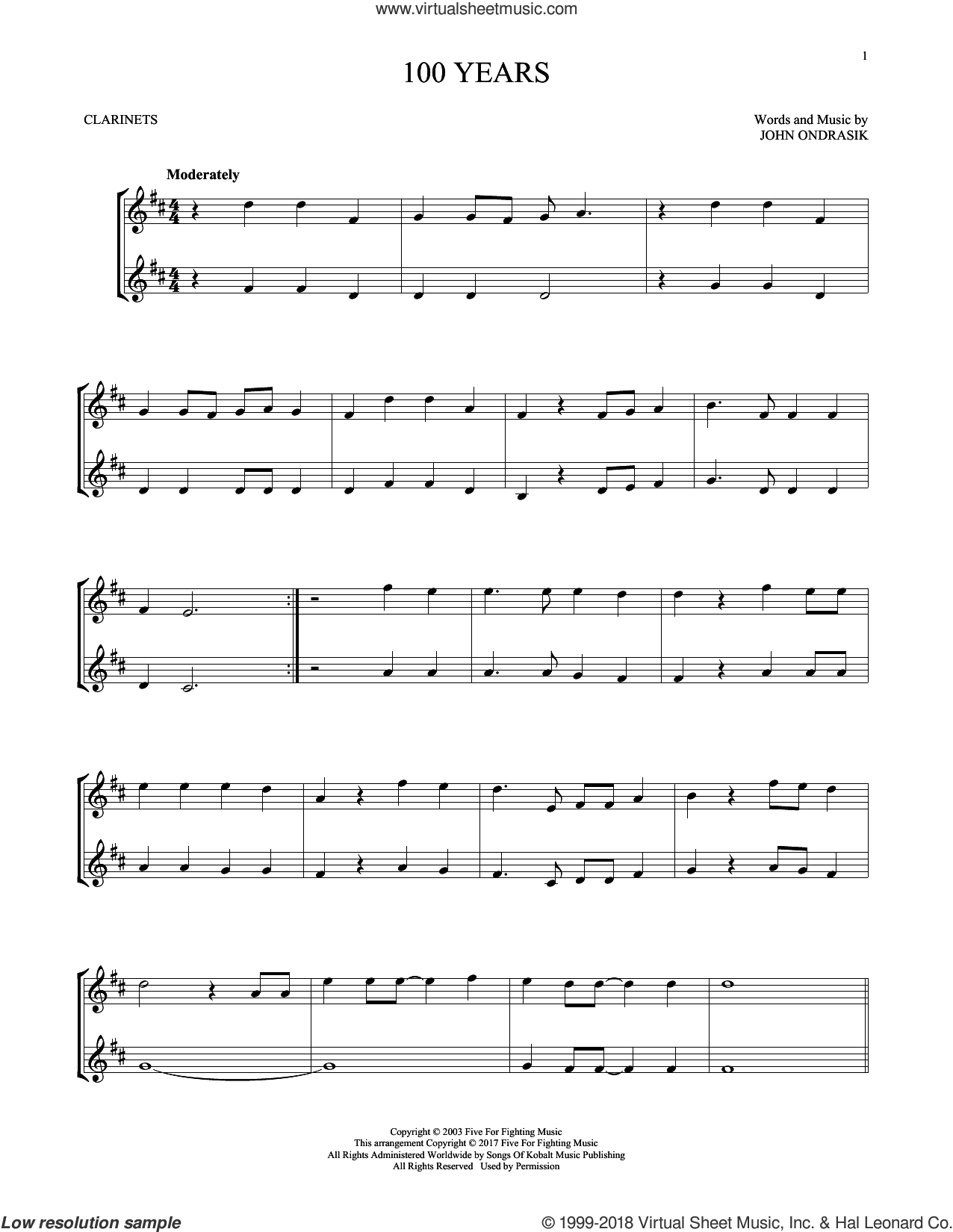 100 Years sheet music for two clarinets (duets) by Five For Fighting and John Ondrasik, intermediate skill level