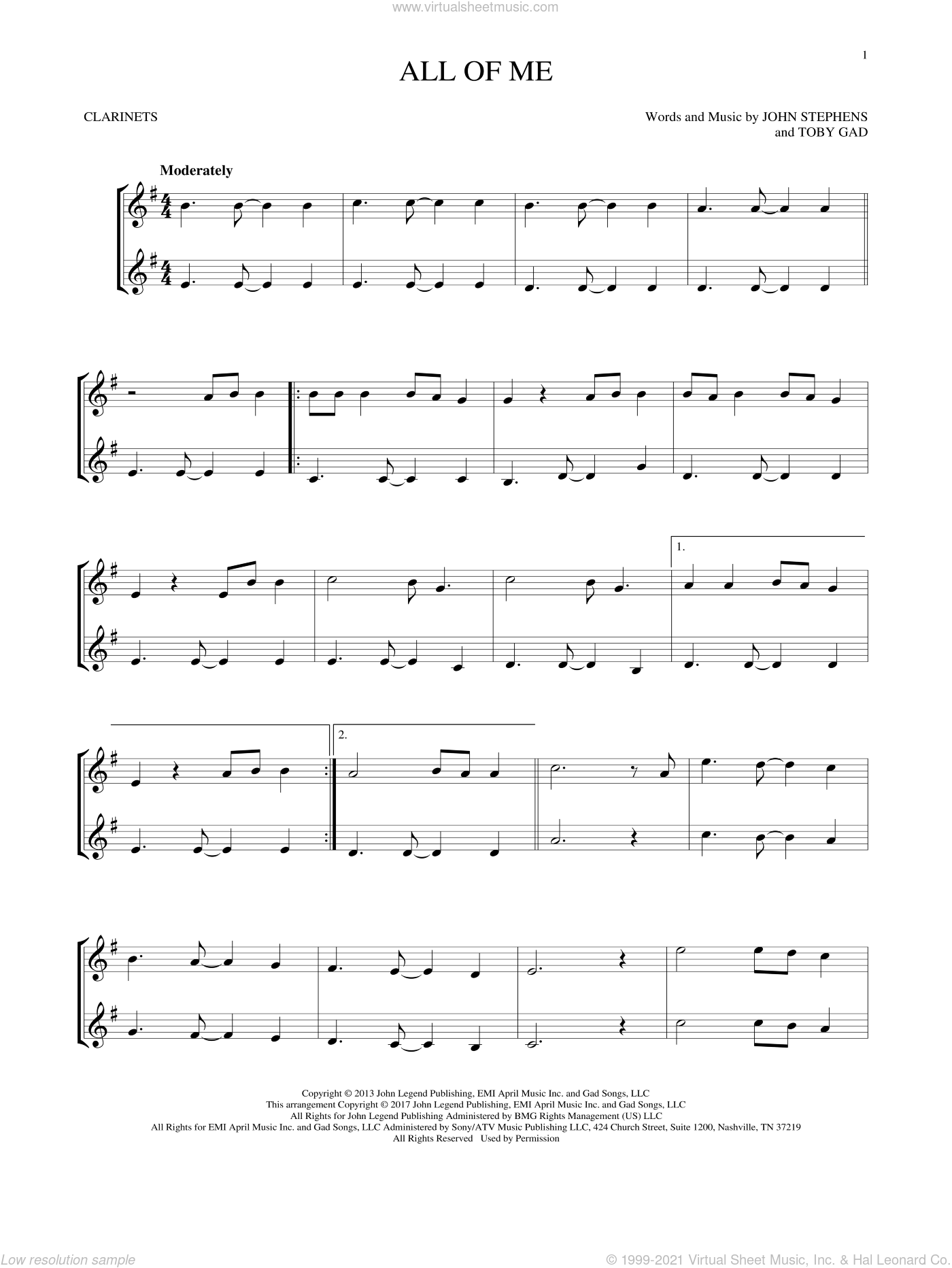 All Of Me sheet music for two clarinets (duets) by John Legend, John Stephens and Toby Gad, intermediate skill level