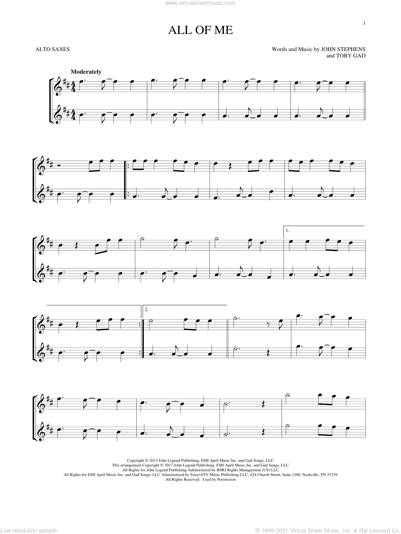 All Of Me sheet music for two alto saxophones (duets) by John Legend, John Stephens and Toby Gad, intermediate skill level