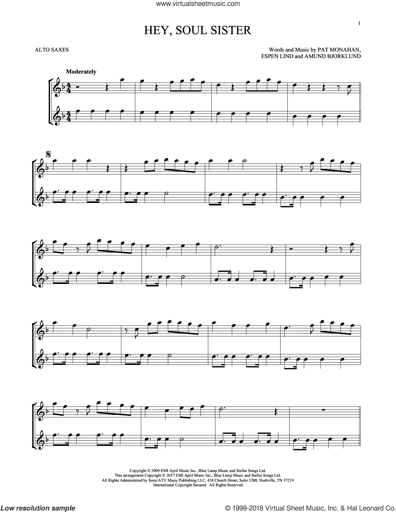 Hey, Soul Sister sheet music for two alto saxophones (duets) by Train, Amund Bjorklund, Espen Lind and Pat Monahan, intermediate skill level