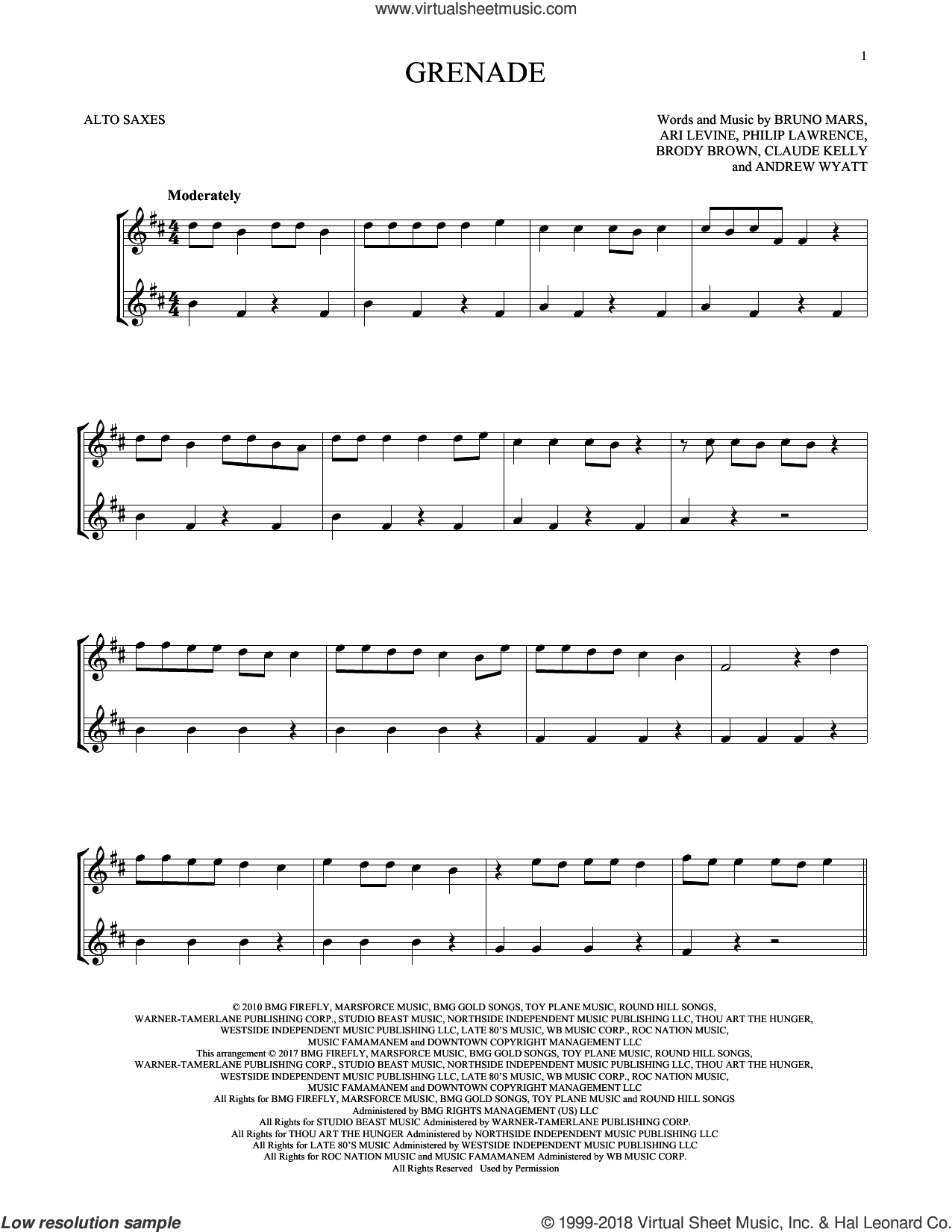 Grenade sheet music for two alto saxophones (duets) by Bruno Mars, Andrew Wyatt, Ari Levine, Brody Brown, Claude Kelly and Philip Lawrence, intermediate skill level