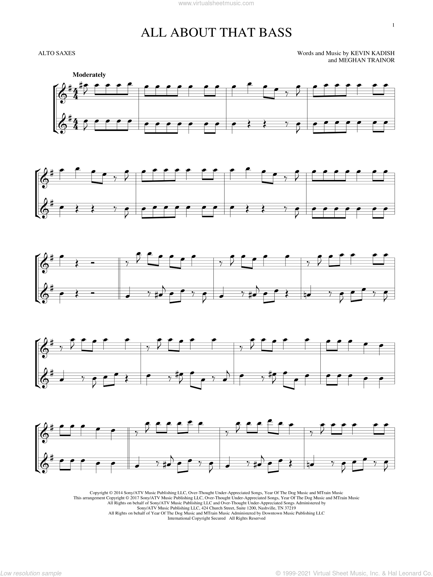 All About That Bass sheet music for two alto saxophones (duets) by Meghan Trainor and Kevin Kadish, intermediate skill level