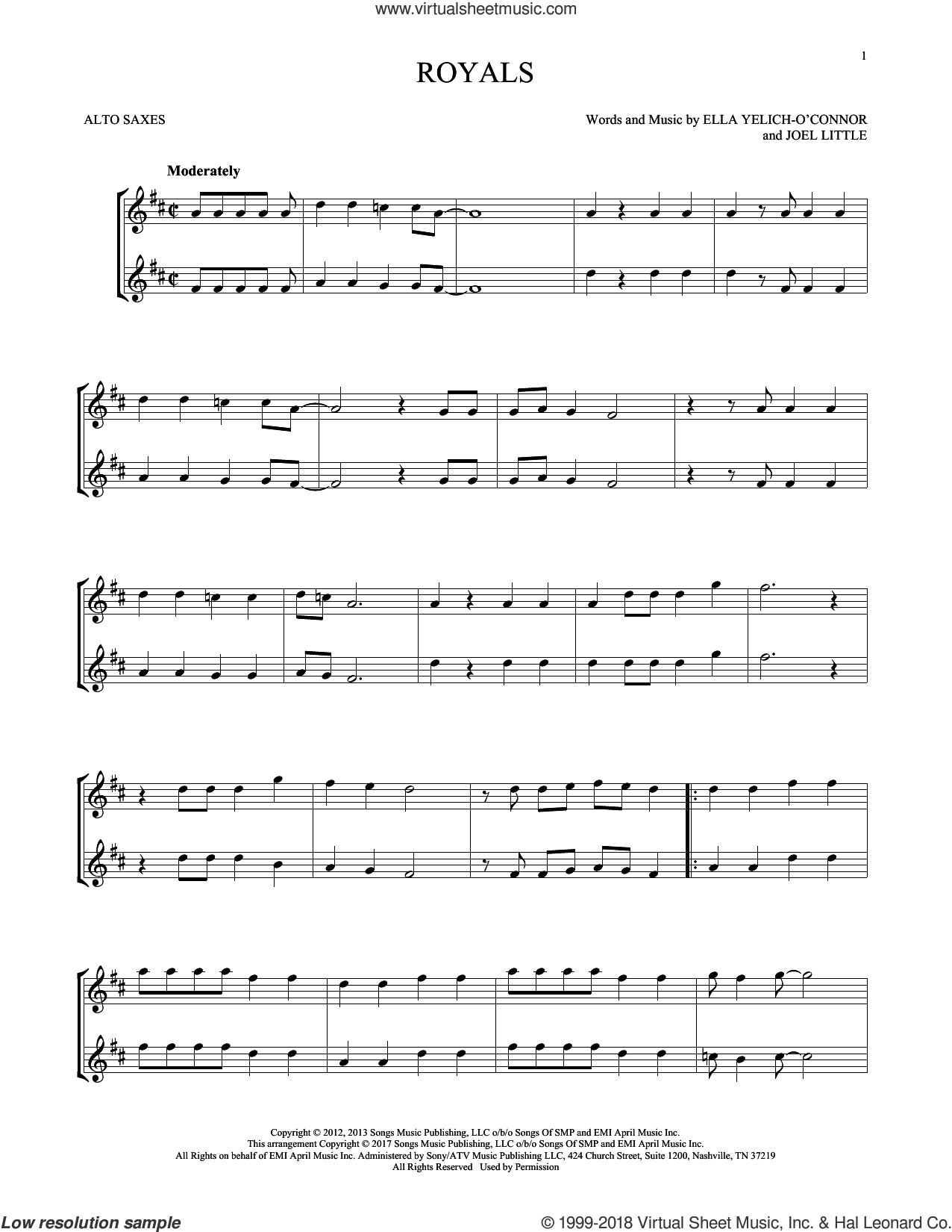 Royals sheet music for two alto saxophones (duets) by Lorde and Joel Little, intermediate skill level