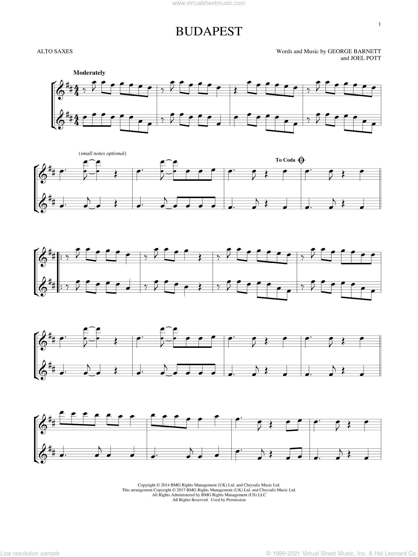 Budapest sheet music for two alto saxophones (duets) by George Ezra, George Barnett and Joel Pott, intermediate skill level