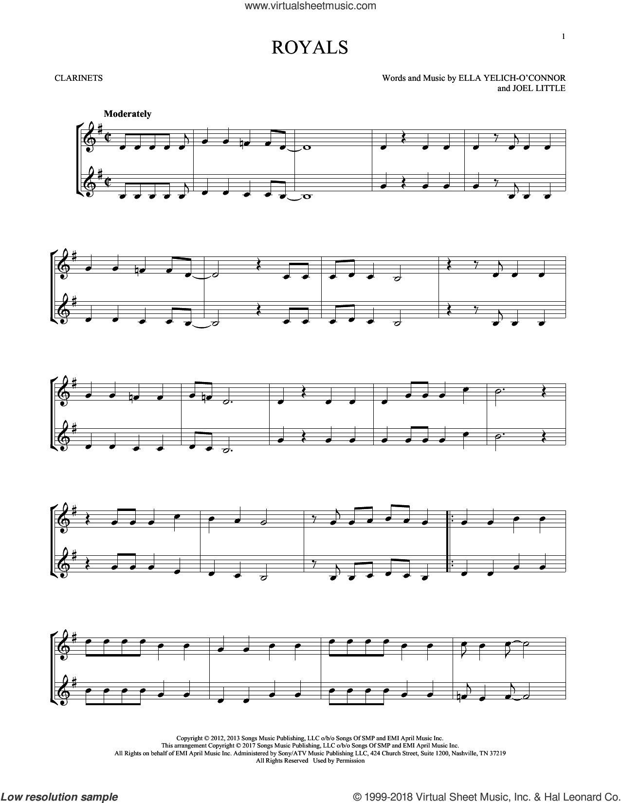 Royals sheet music for two clarinets (duets) by Lorde and Joel Little, intermediate skill level