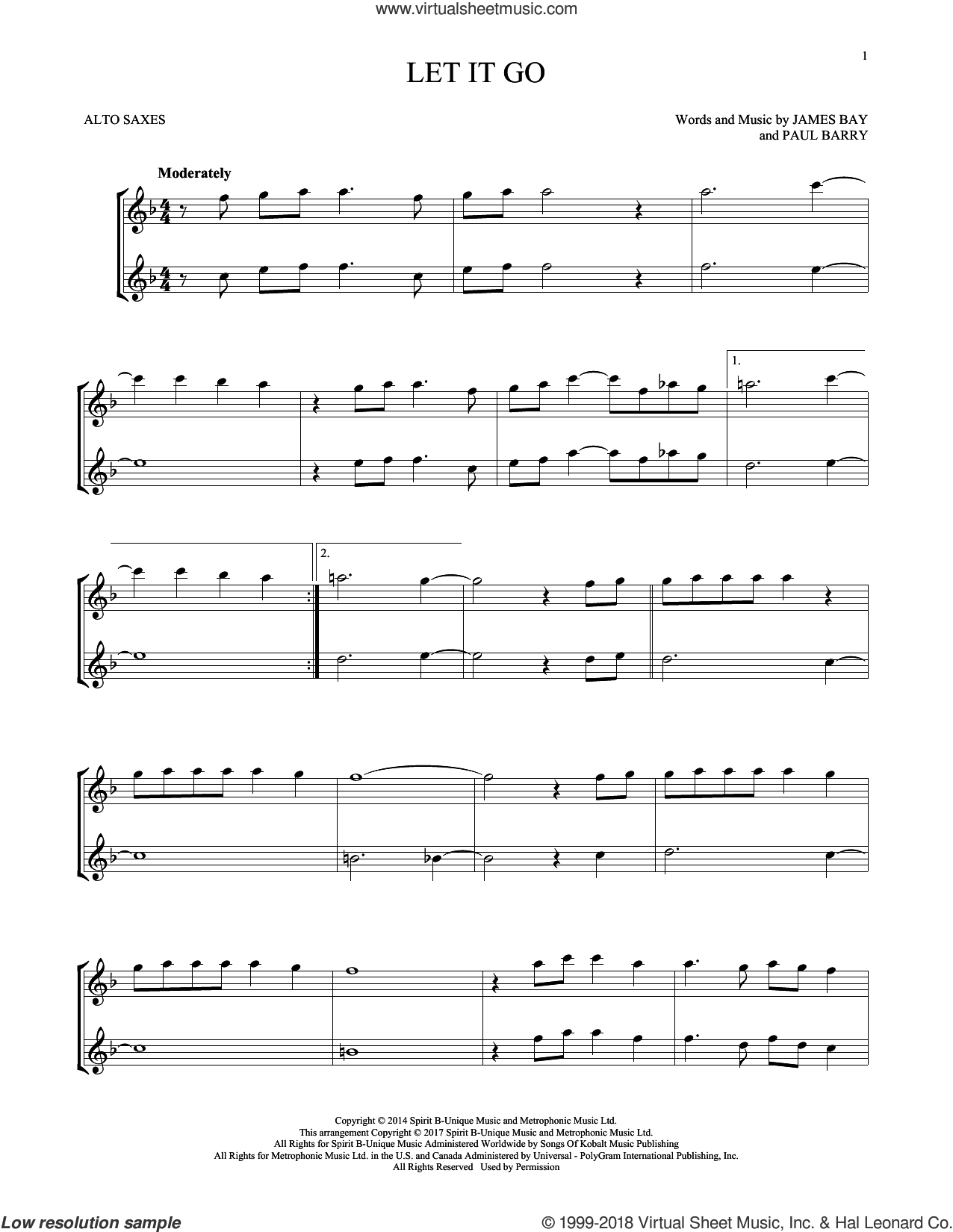 Let It Go sheet music for two alto saxophones (duets) by James Bay and Paul Barry, intermediate skill level