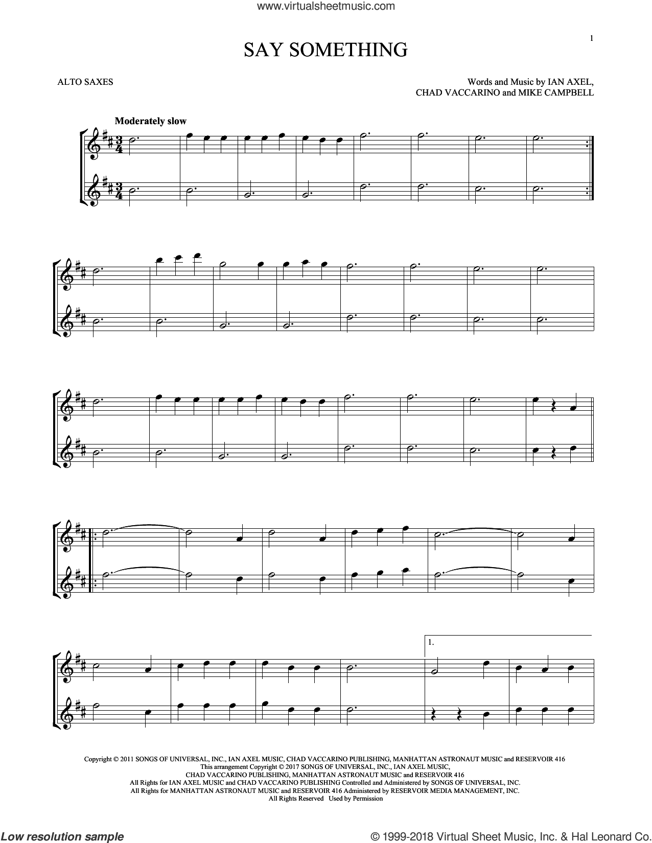 Say Something sheet music for two alto saxophones (duets) by A Great Big World, Chad Vaccarino, Ian Axel and Mike Campbell, intermediate skill level
