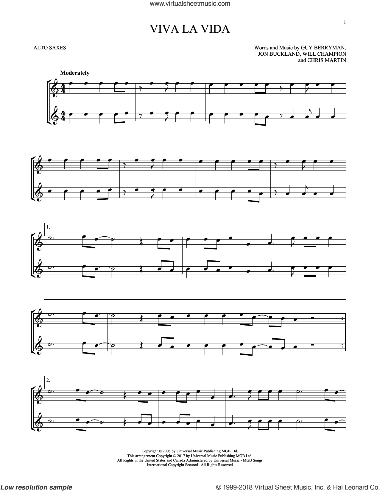 Viva La Vida sheet music for two alto saxophones (duets) by Coldplay, Chris Martin, Guy Berryman, Jon Buckland and Will Champion, intermediate skill level