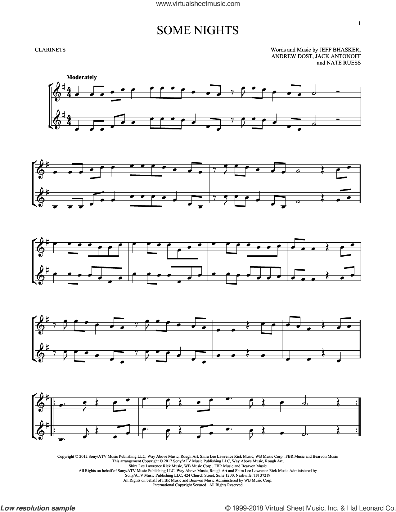 Some Nights sheet music for two clarinets (duets) by Fun, Andrew Dost, Jack Antonoff, Jeff Bhasker and Nate Ruess, intermediate skill level
