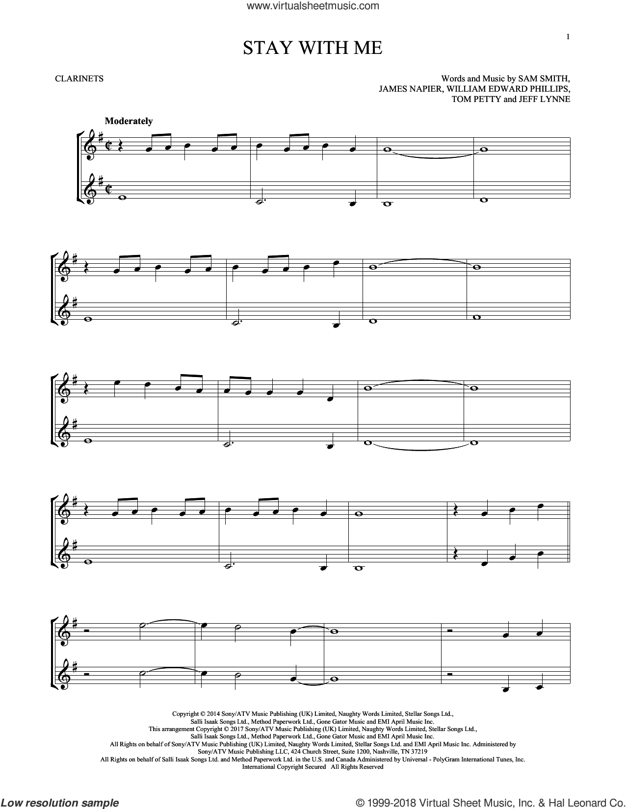 Stay With Me sheet music for two clarinets (duets) by Sam Smith, James Napier, Jeff Lynne, Tom Petty and William Edward Phillips, intermediate skill level