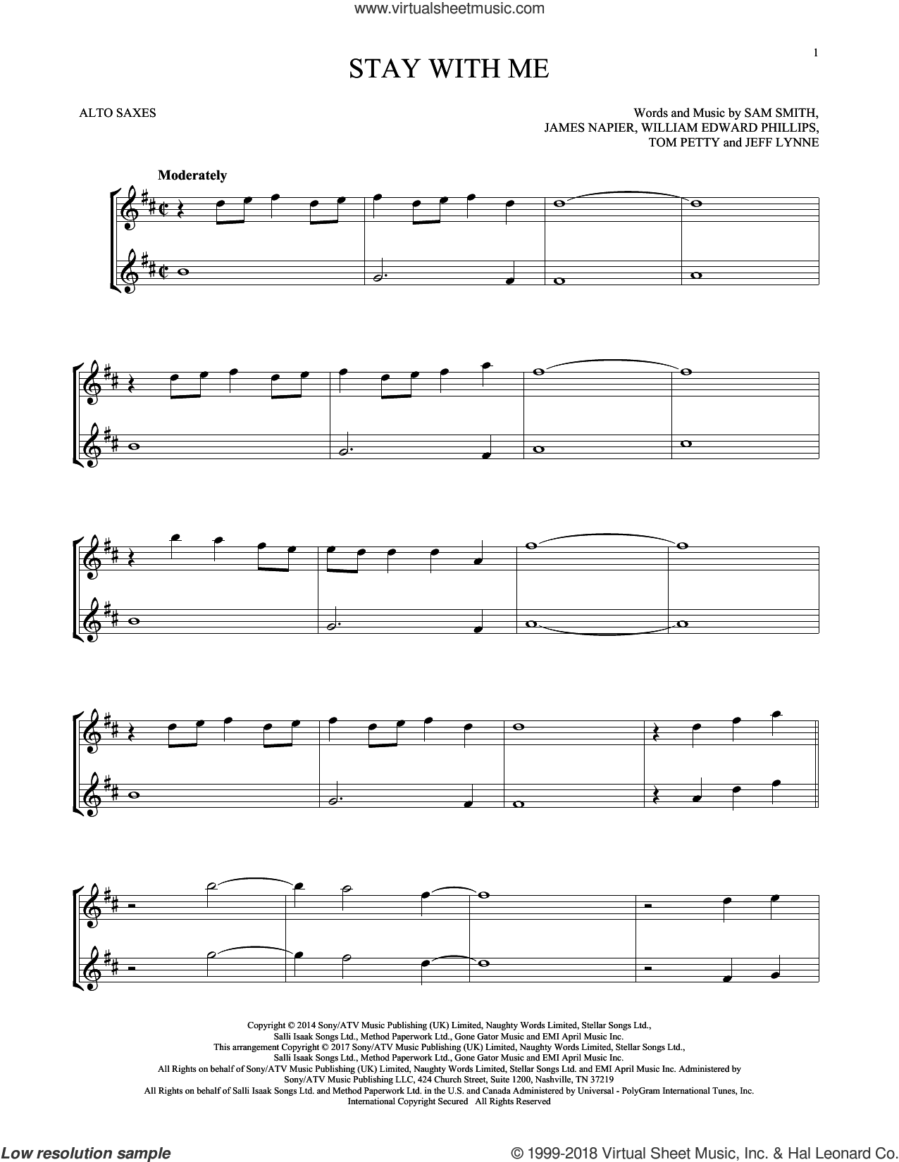 Stay With Me sheet music for two alto saxophones (duets) by Sam Smith, James Napier, Jeff Lynne, Tom Petty and William Edward Phillips, intermediate skill level