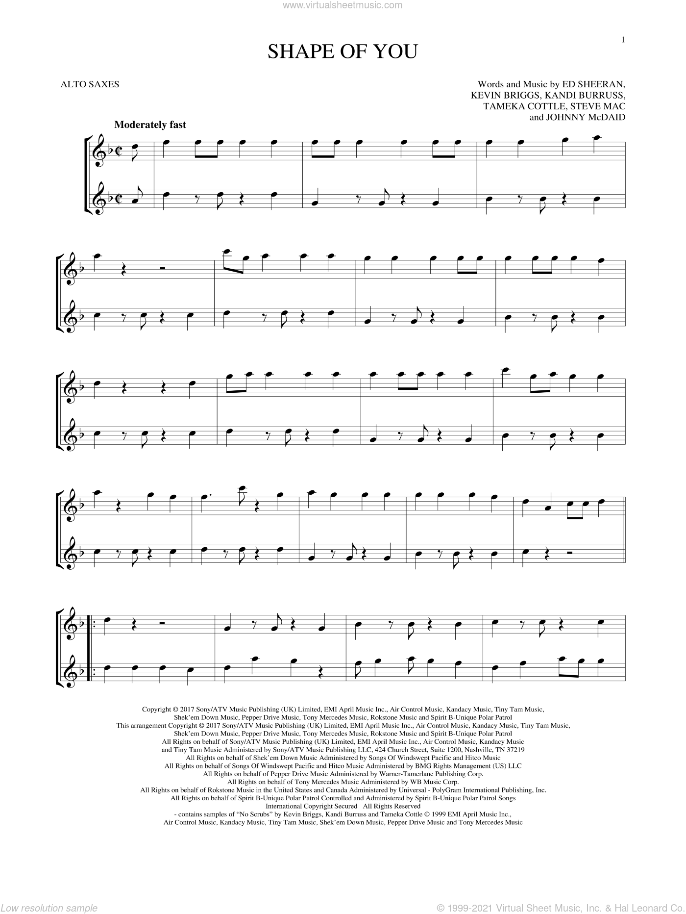 Shape Of You sheet music for two alto saxophones (duets) by Ed Sheeran, Johnny McDaid, Kandi Burruss, Kevin Briggs, Steve Mac and Tameka Cottle, intermediate skill level