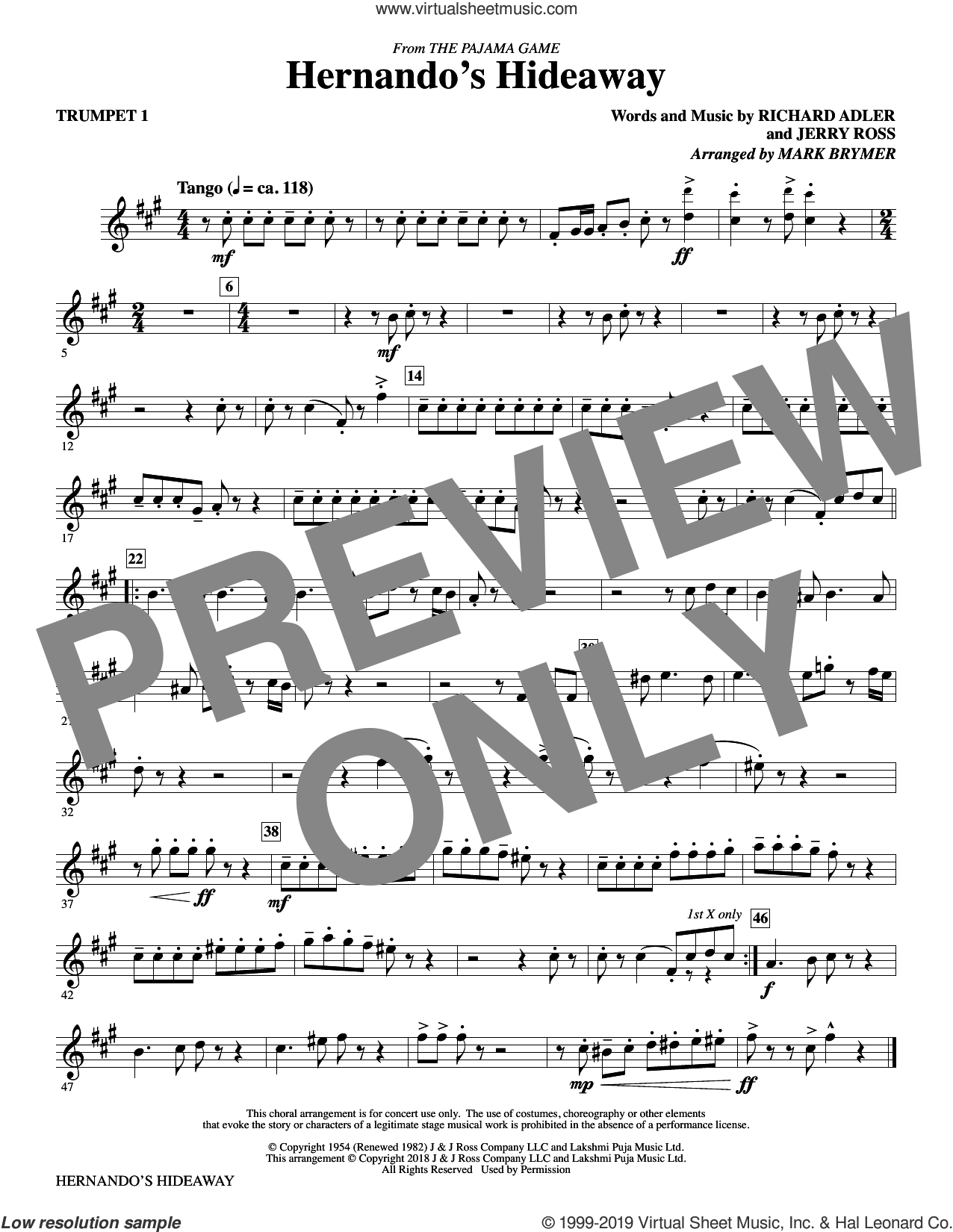 Hernando's Hideaway (complete set of parts) sheet music for orchestra/band by Mark Brymer, Jerry Ross and Richard Adler, intermediate skill level
