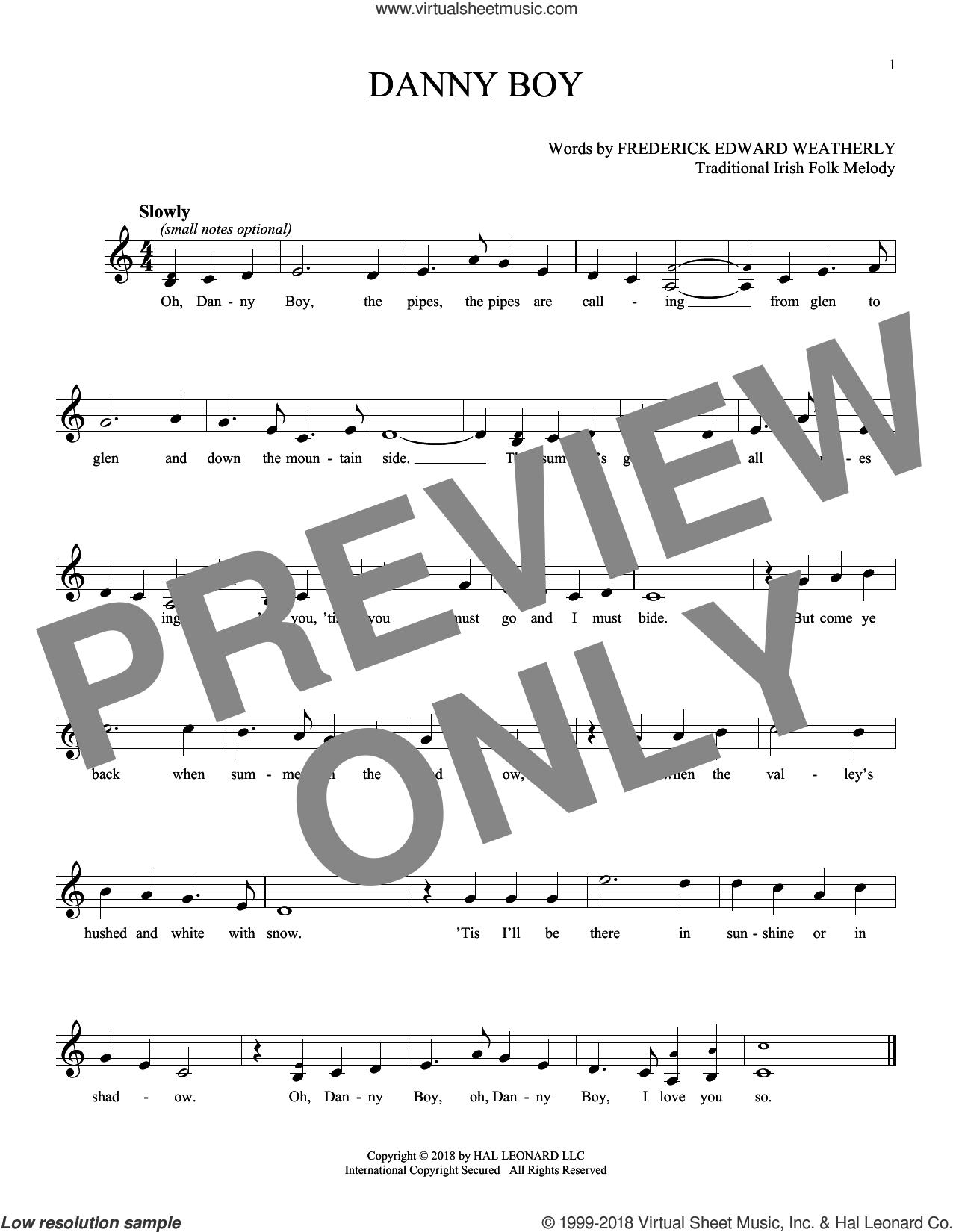 Danny Boy sheet music for ocarina solo by Traditional Irish and Frederick Edward Weatherly, intermediate skill level