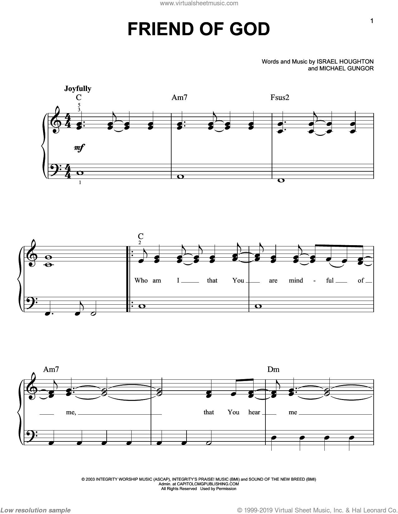 Friend Of God sheet music for piano solo by Israel Houghton and Michael Gungor, easy skill level