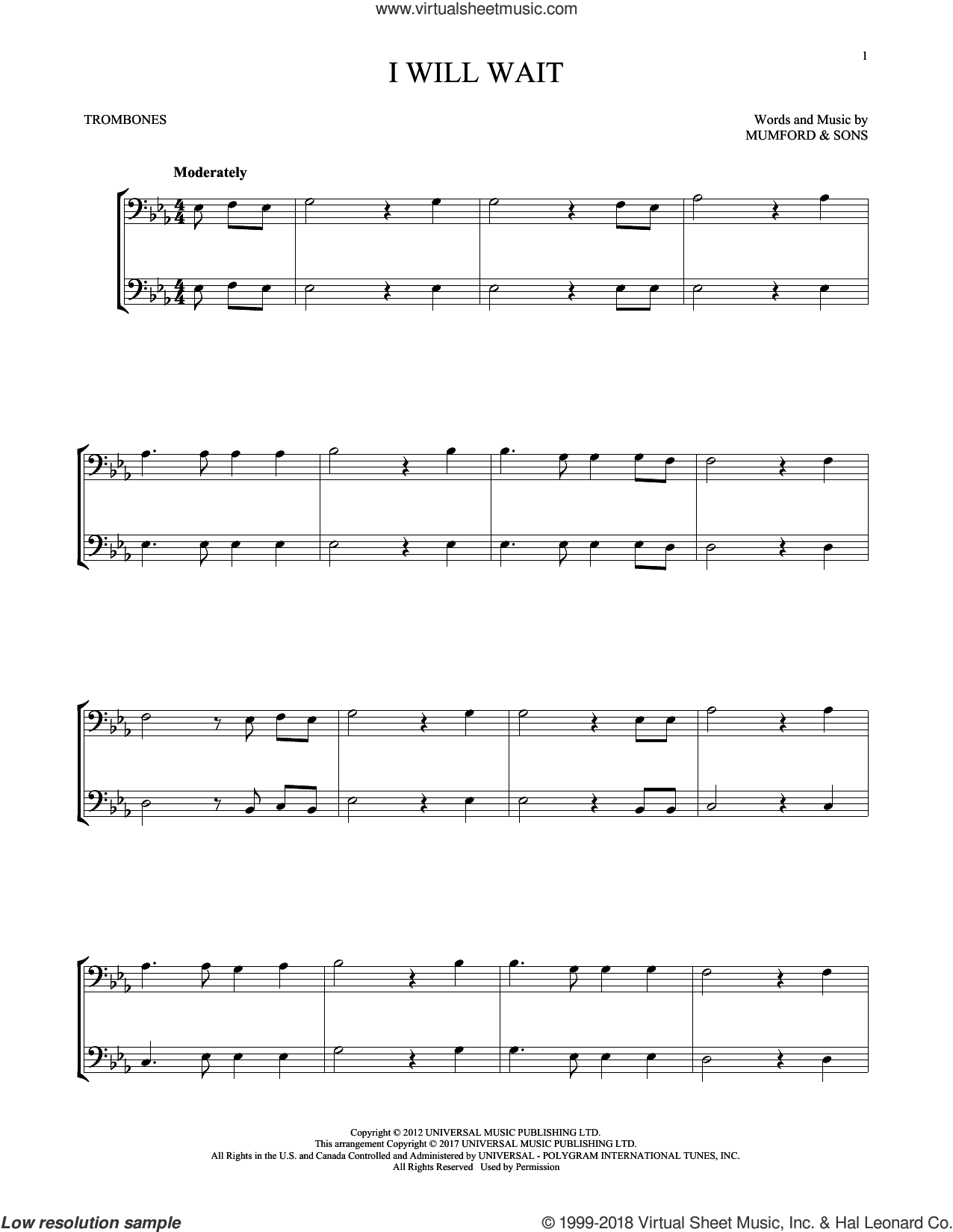 I Will Wait sheet music for two trombones (duet, duets) by Mumford & Sons, intermediate skill level