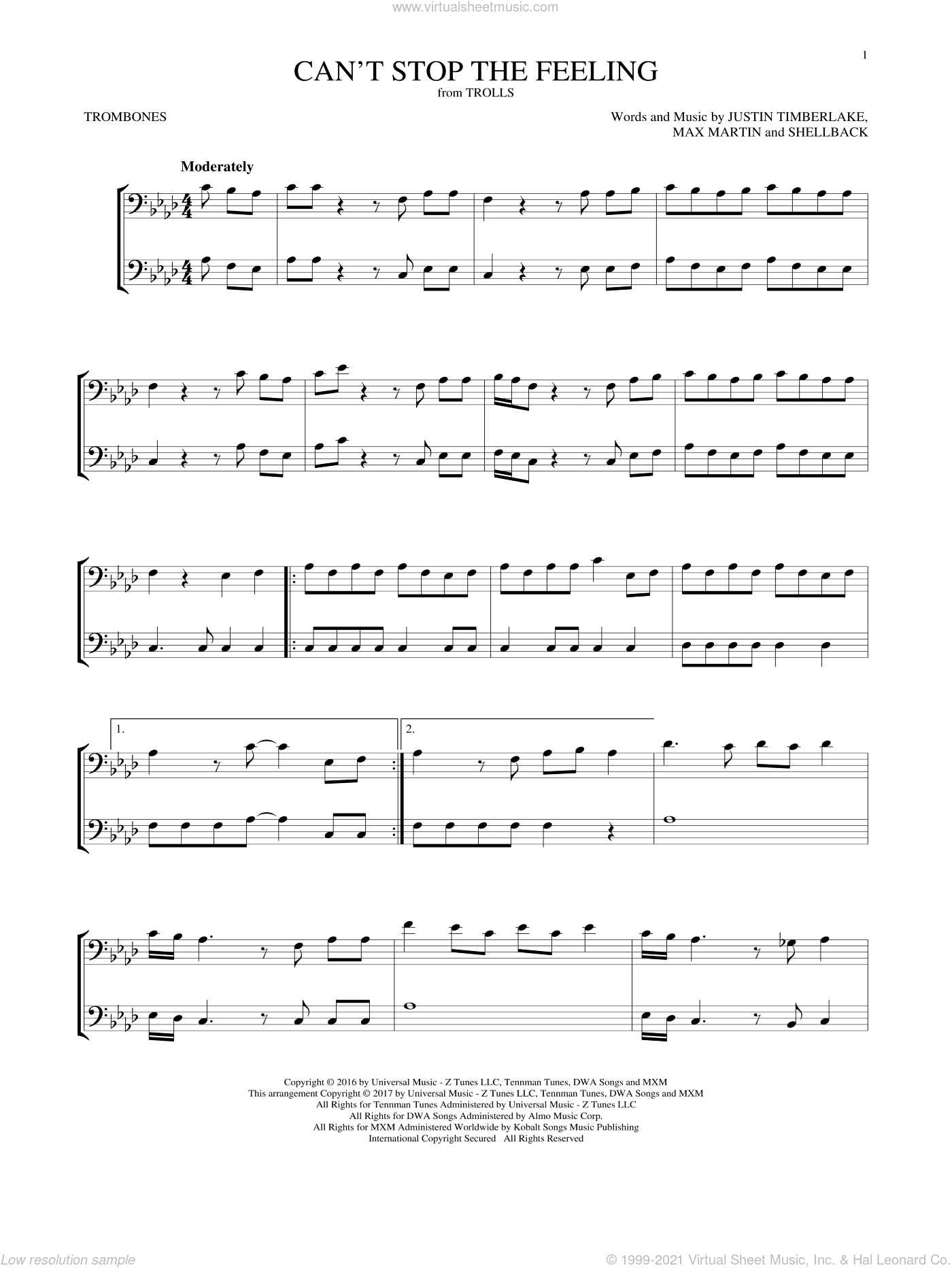 Can't Stop The Feeling sheet music for two trombones (duet, duets) by Justin Timberlake, Johan Schuster, Max Martin and Shellback, intermediate skill level