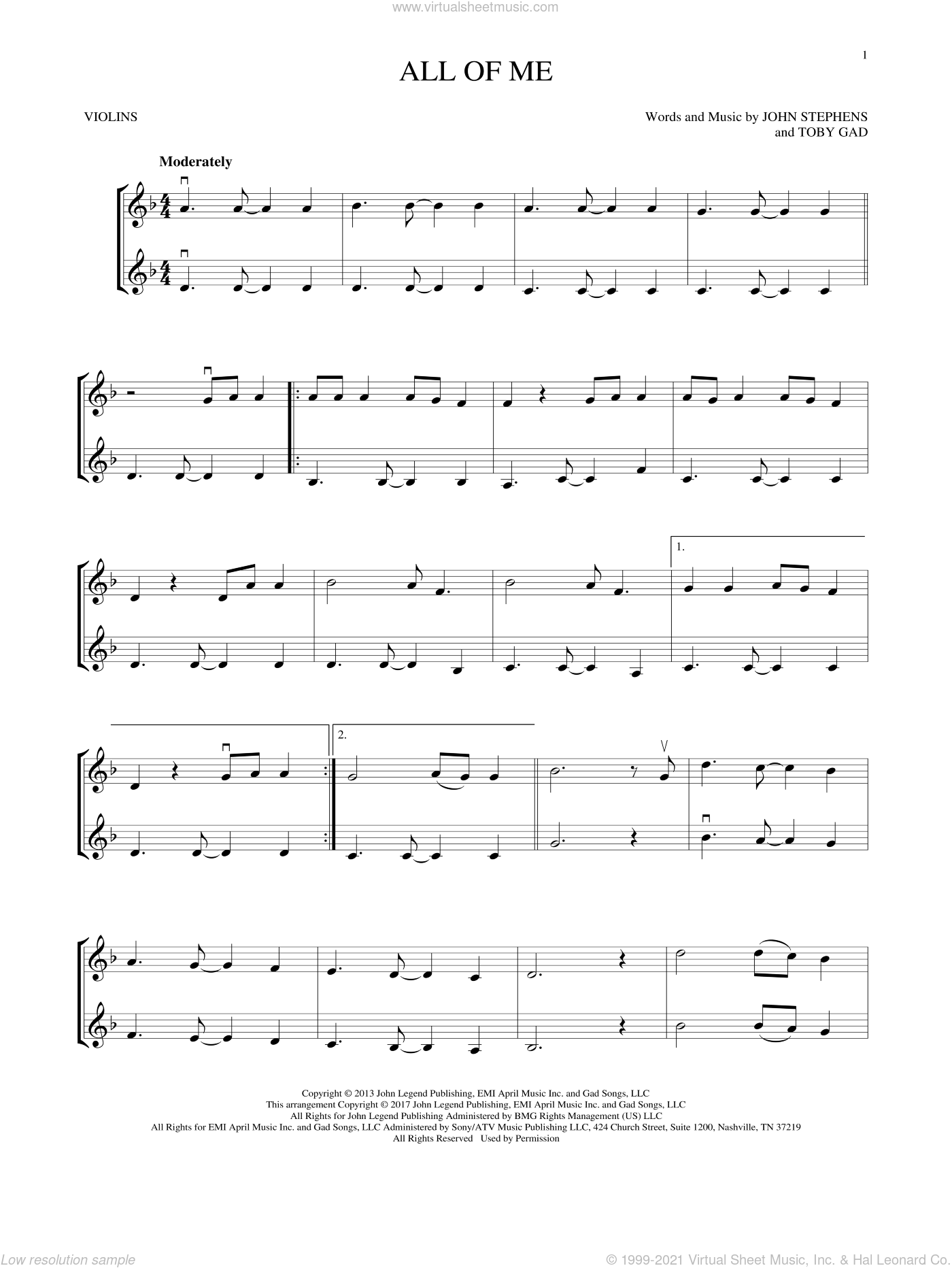 All Of Me sheet music for two violins (duets, violin duets) by John Legend, John Stephens and Toby Gad, wedding score, intermediate skill level