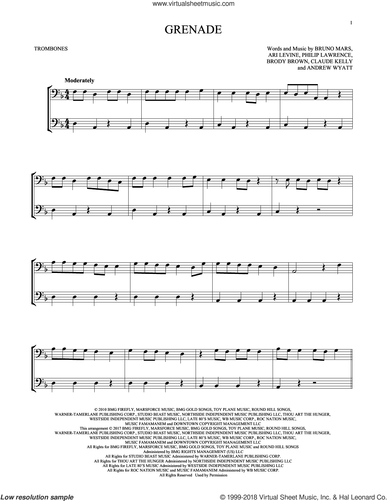 Grenade sheet music for two trombones (duet, duets) by Bruno Mars, Andrew Wyatt, Ari Levine, Brody Brown, Claude Kelly and Philip Lawrence, intermediate skill level