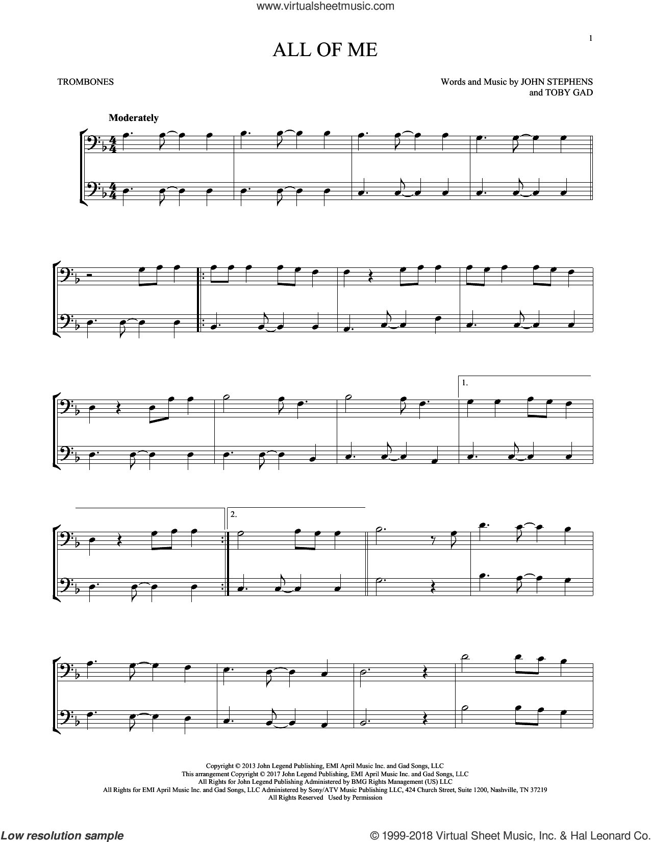 All Of Me sheet music for two trombones (duet, duets) by John Legend, John Stephens and Toby Gad, wedding score, intermediate skill level
