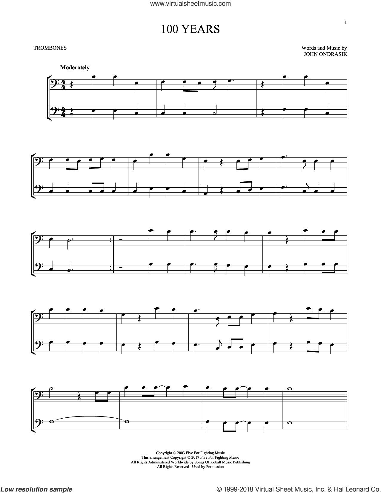 100 Years sheet music for two trombones (duet, duets) by Five For Fighting and John Ondrasik, intermediate skill level