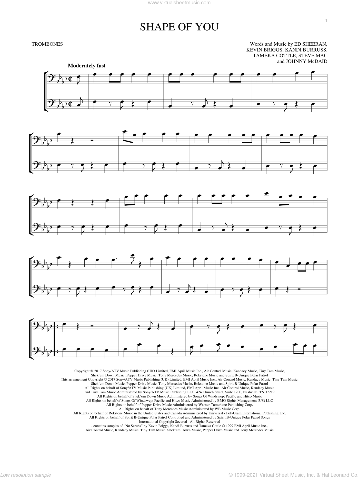 Shape Of You sheet music for two trombones (duet, duets) by Ed Sheeran, Johnny McDaid, Kandi Burruss, Kevin Briggs, Steve Mac and Tameka Cottle, intermediate skill level
