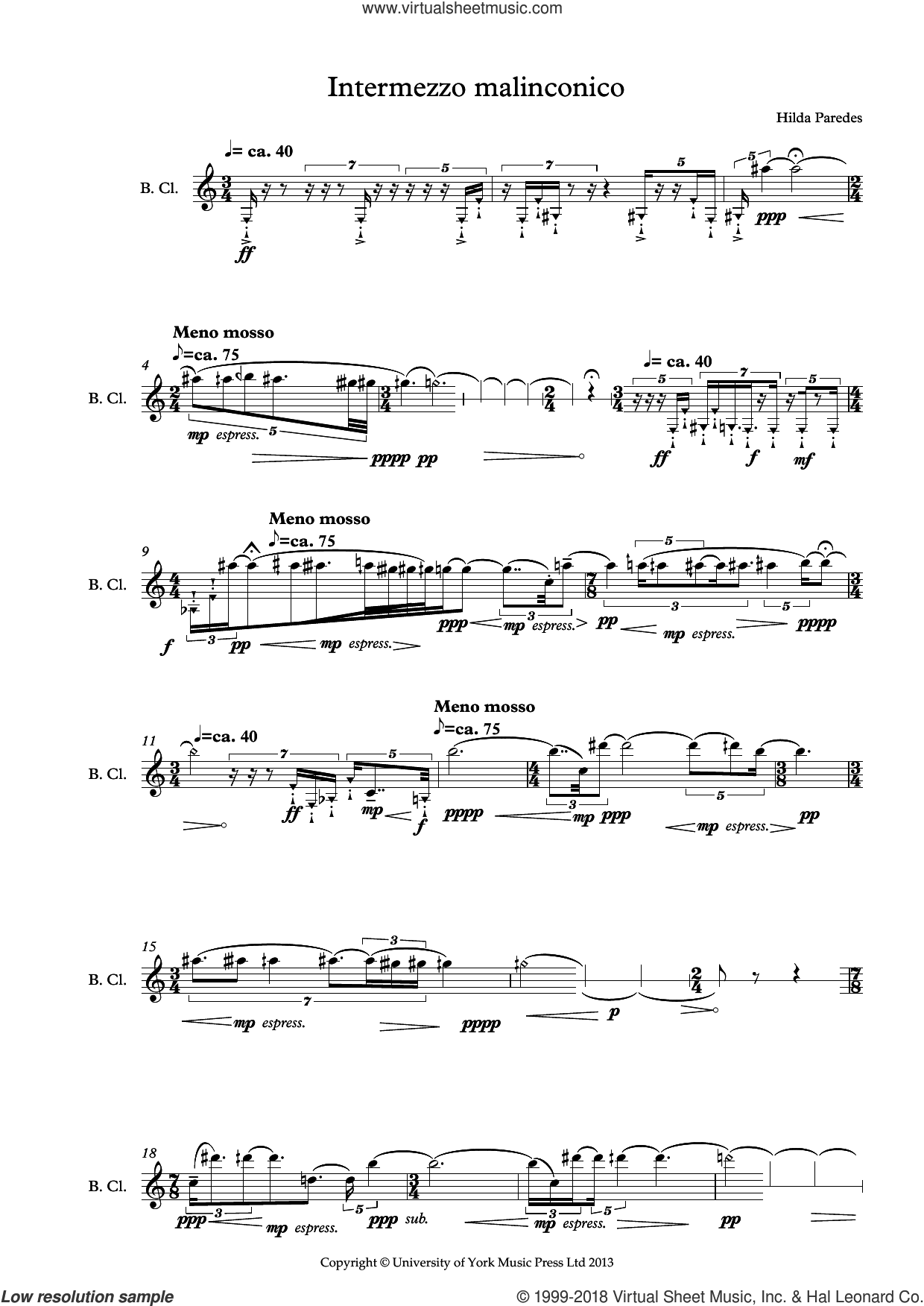 Intermezzo Malinconico sheet music for bass clarinet solo by Hilda Paredes, classical score, intermediate skill level